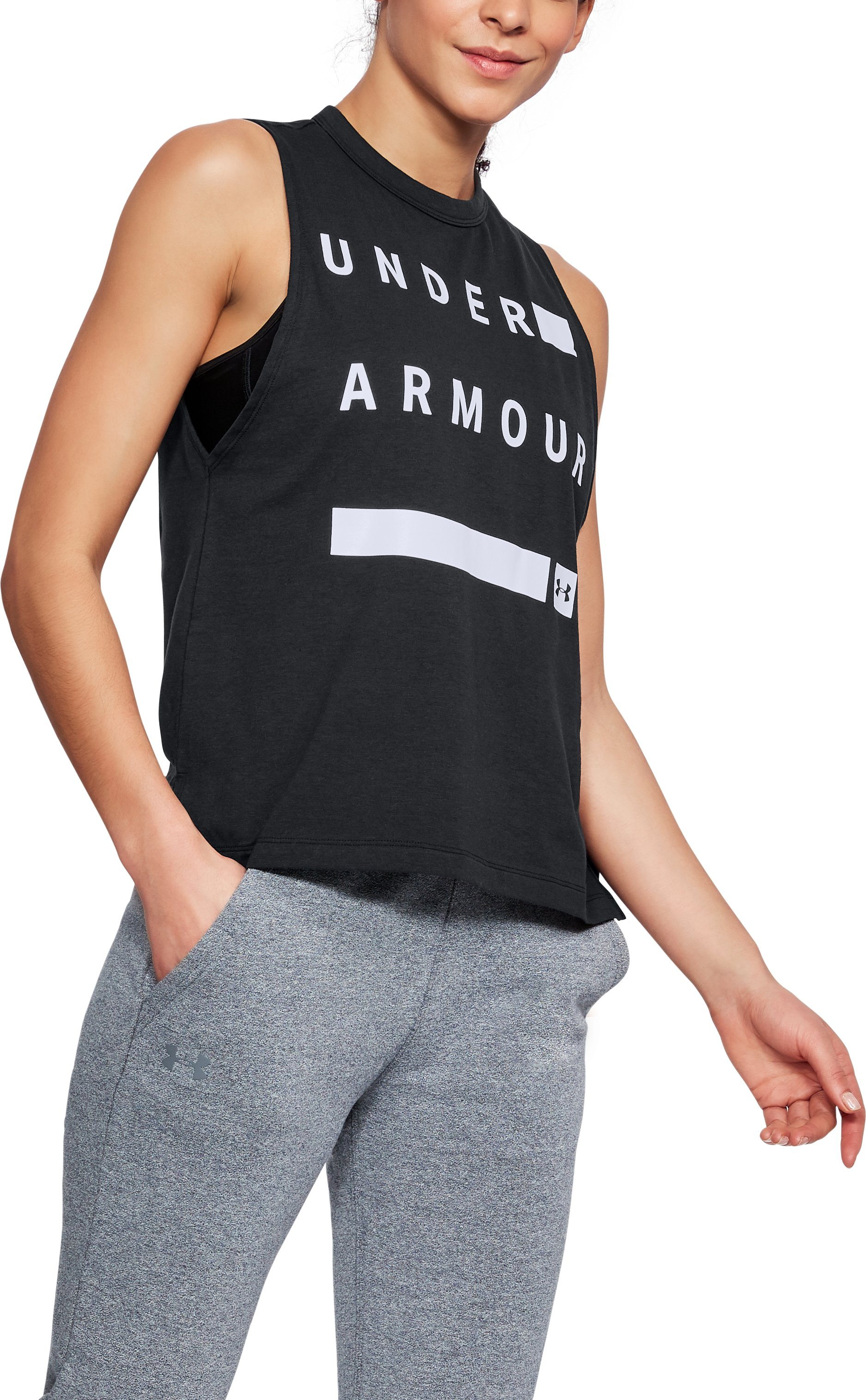 Women's UA Linear Wordmark Muscle Tank, Black