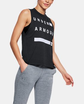 Women's UA Linear Wordmark Muscle Tank  1  Color $30