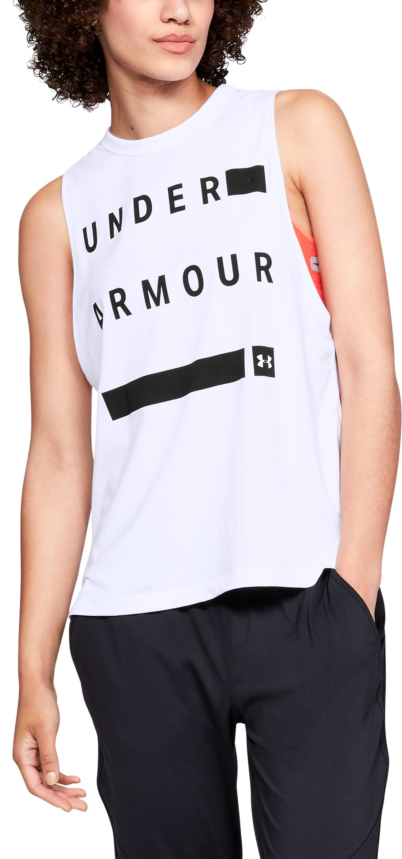 Graphic Muscle Tank Linear Wordmark, White, zoomed