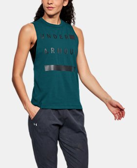 Women's UA Linear Wordmark Muscle Tank  1  Color Available $26.25