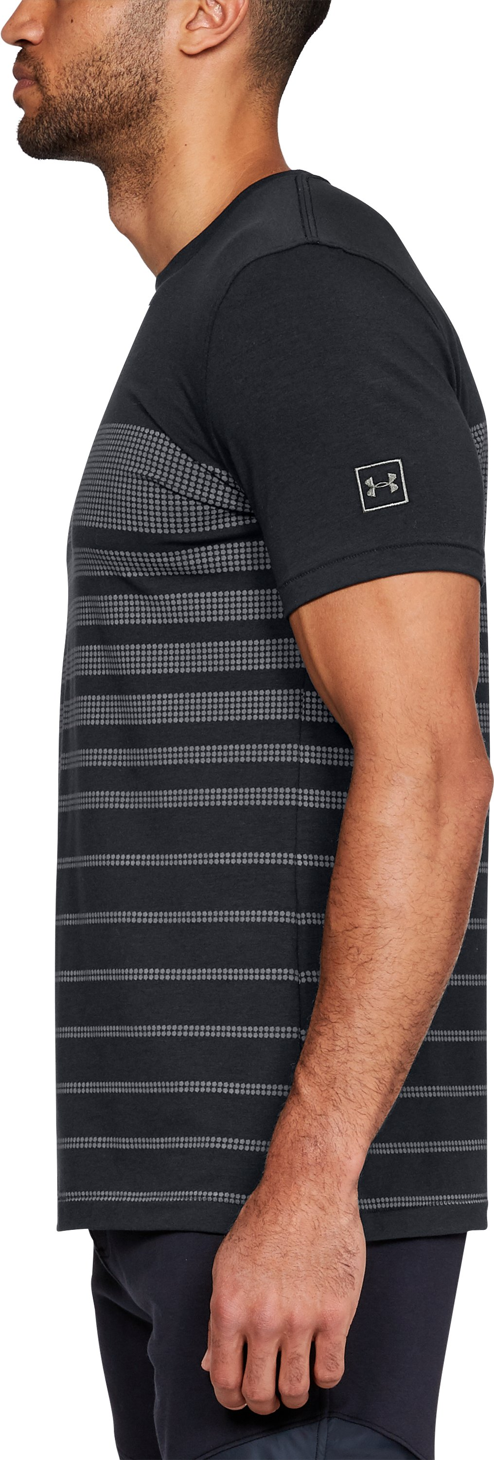 Men's UA Sportstyle Stripe T-Shirt, Black ,