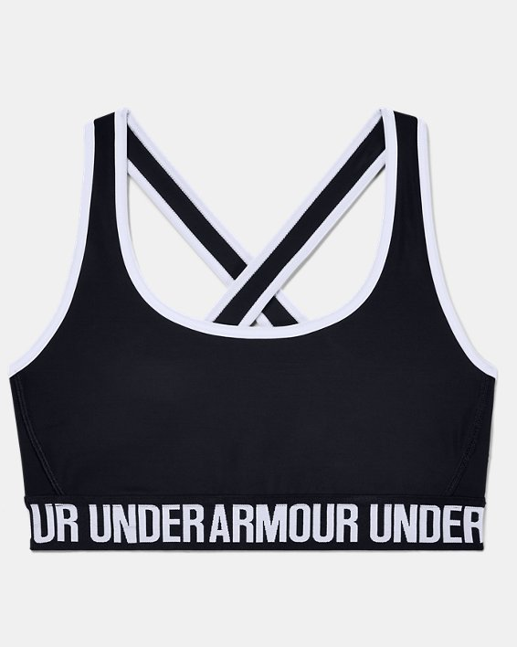 Women's UA Crossback Mid Sports Bra, Black, pdpMainDesktop image number 2