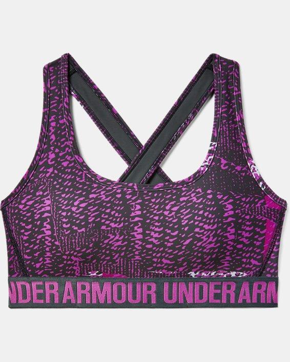 Women's UA Crossback Mid Printed Sports Bra, Purple, pdpMainDesktop image number 2