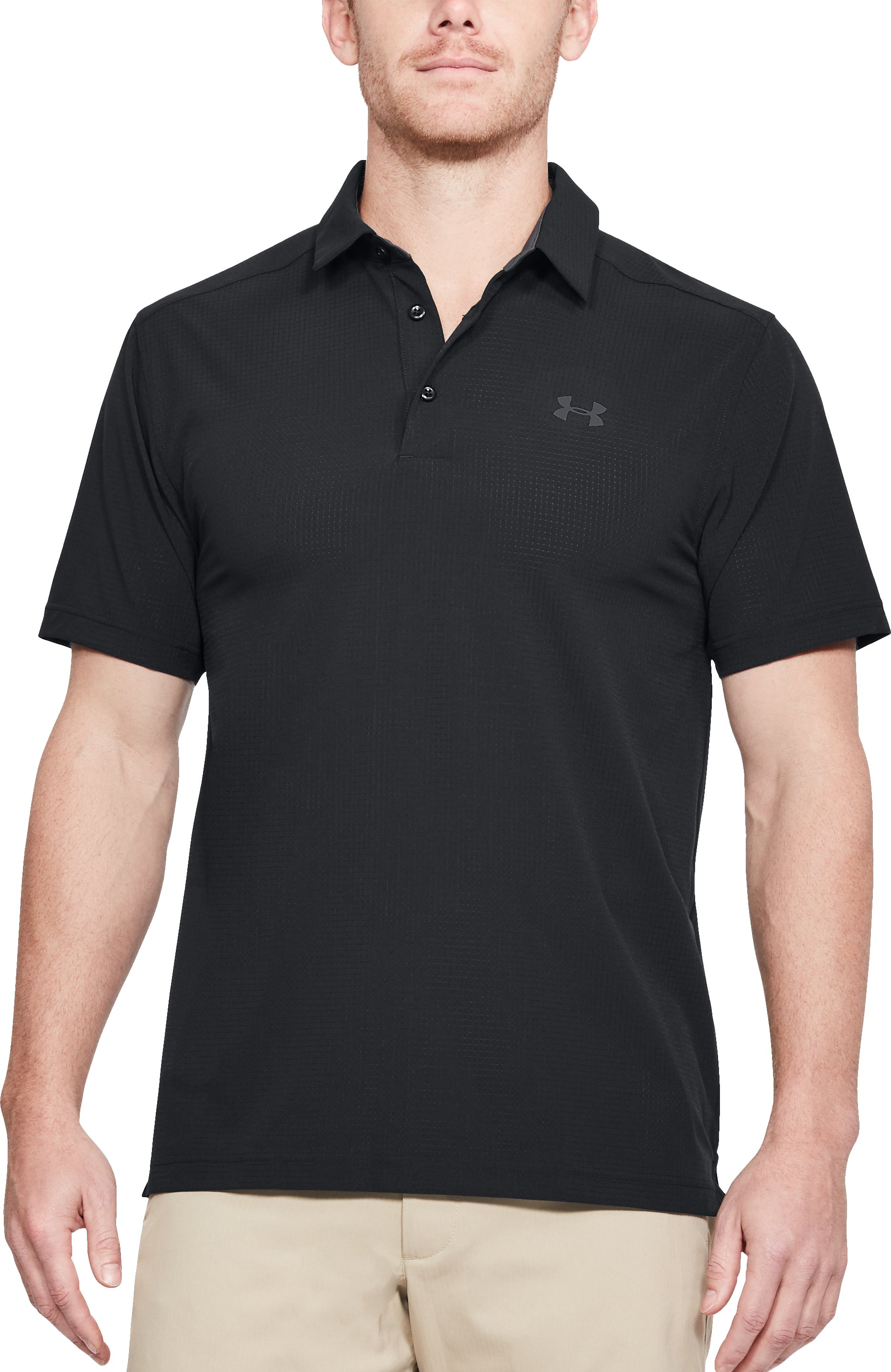 Men's UA Playoff Vented Woven Polo, Black