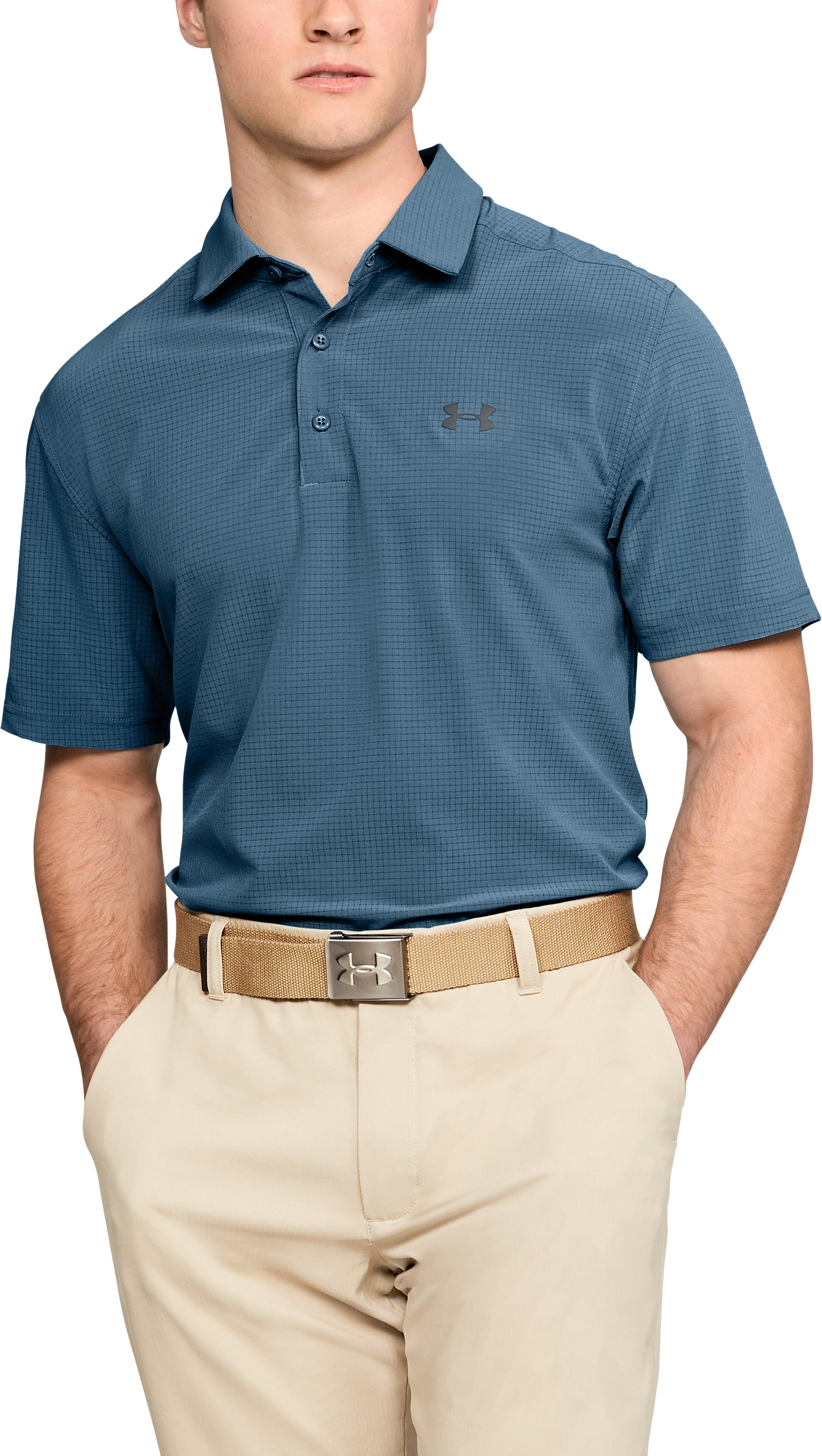 Men's UA Playoff Vented Woven Polo, BASS BLUE