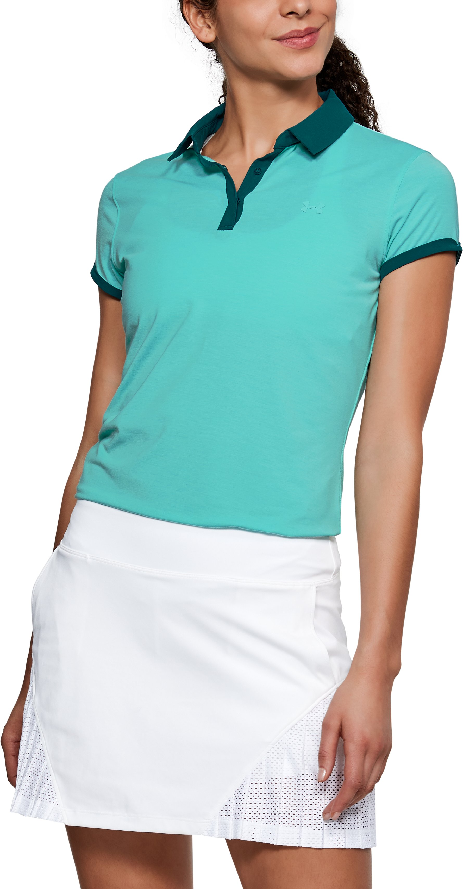 Women's UA Threadborne Jacquard Polo, TROPICAL TIDE
