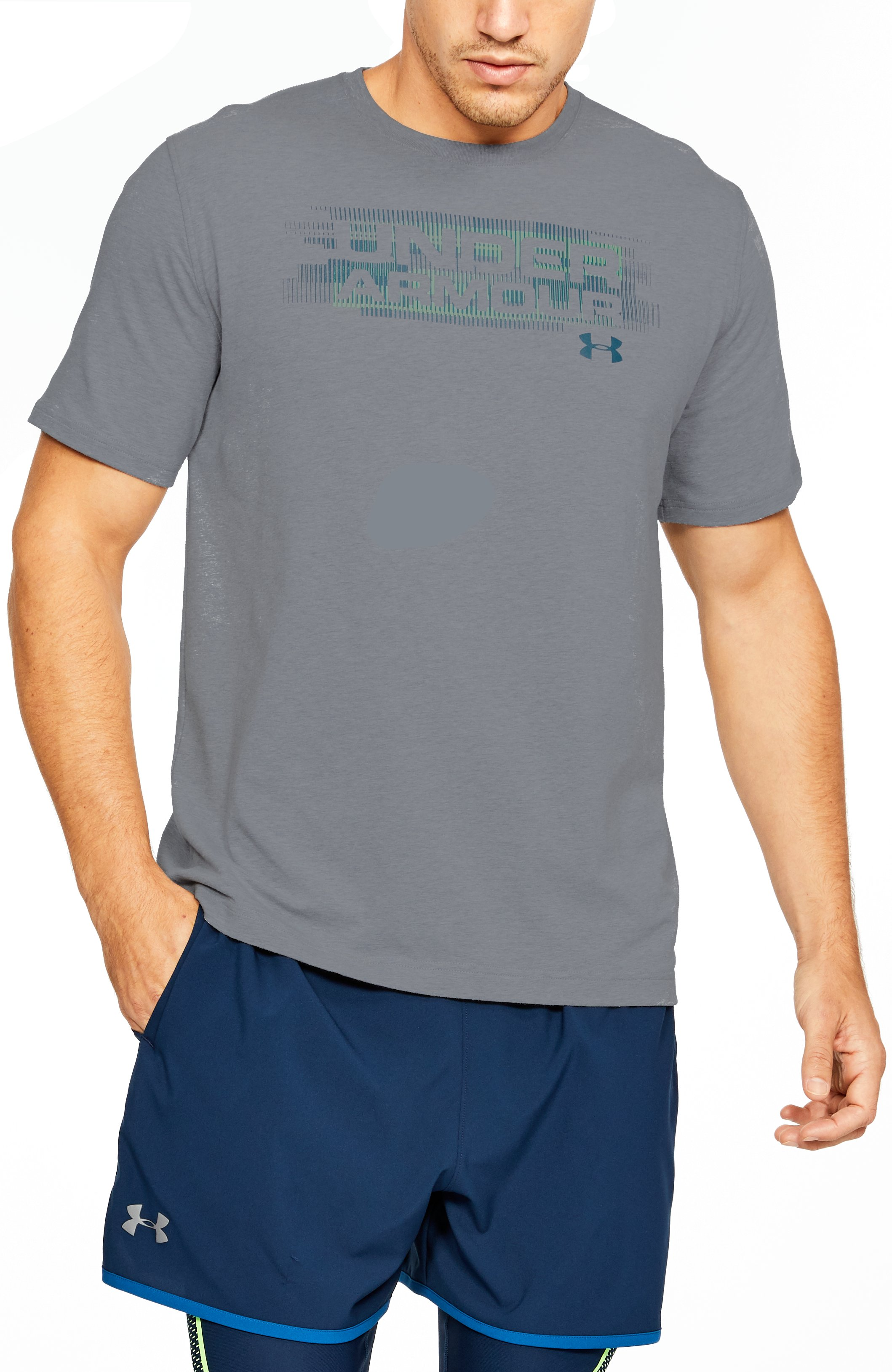 Men's UA Phase Wordmark T-Shirt, STEEL LIGHT HEATHER