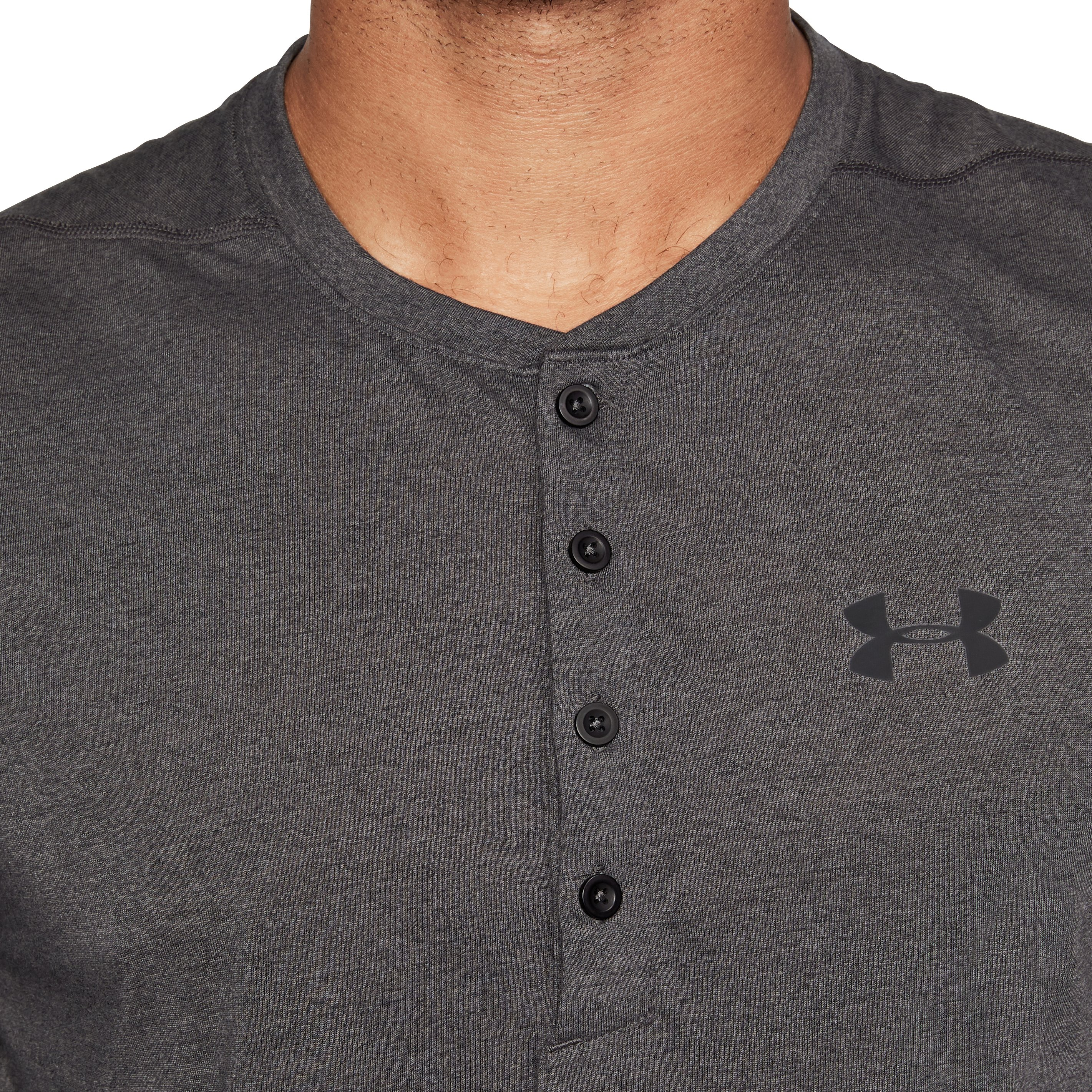 Men's UA Siro Fitted Henley, Charcoal,