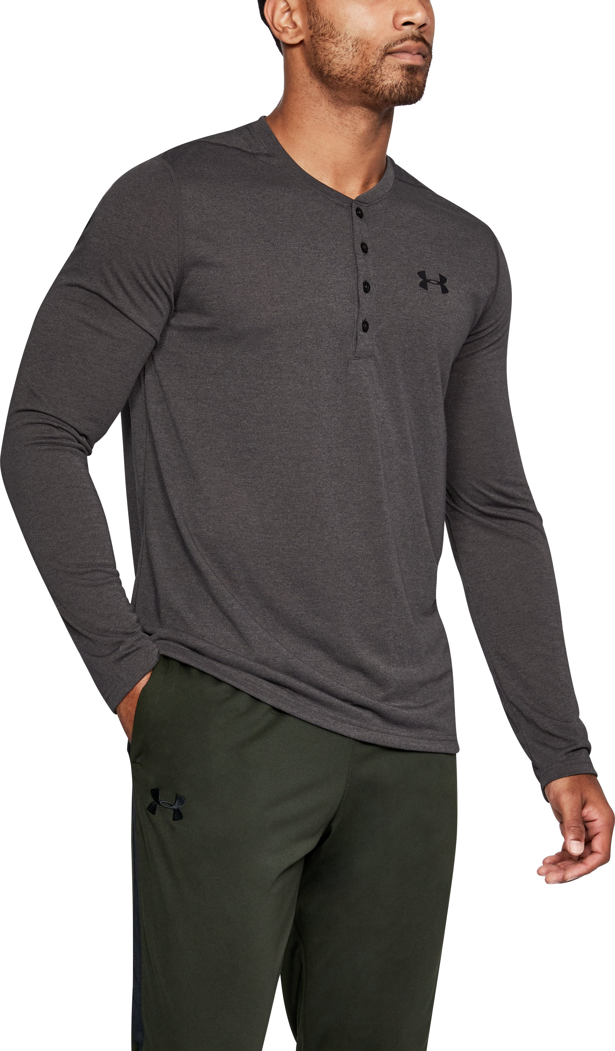 Men's UA Siro Fitted Henley, Charcoal