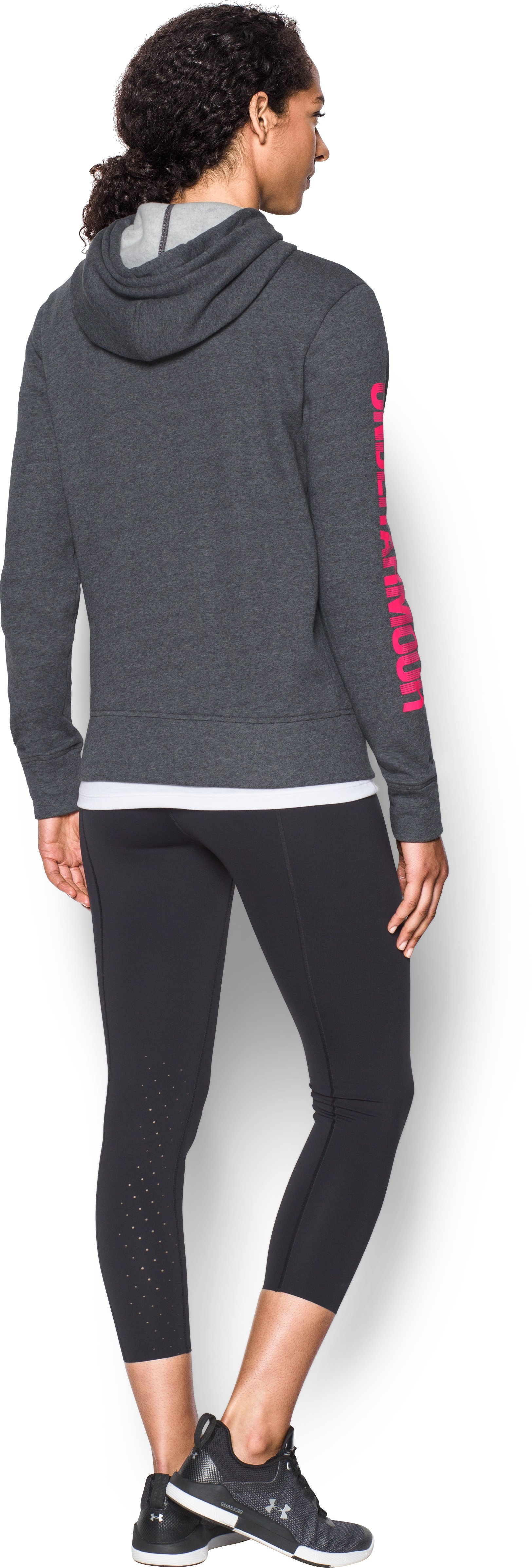 Women's UA Terry Full Zip Hoodie, Carbon Heather, Back