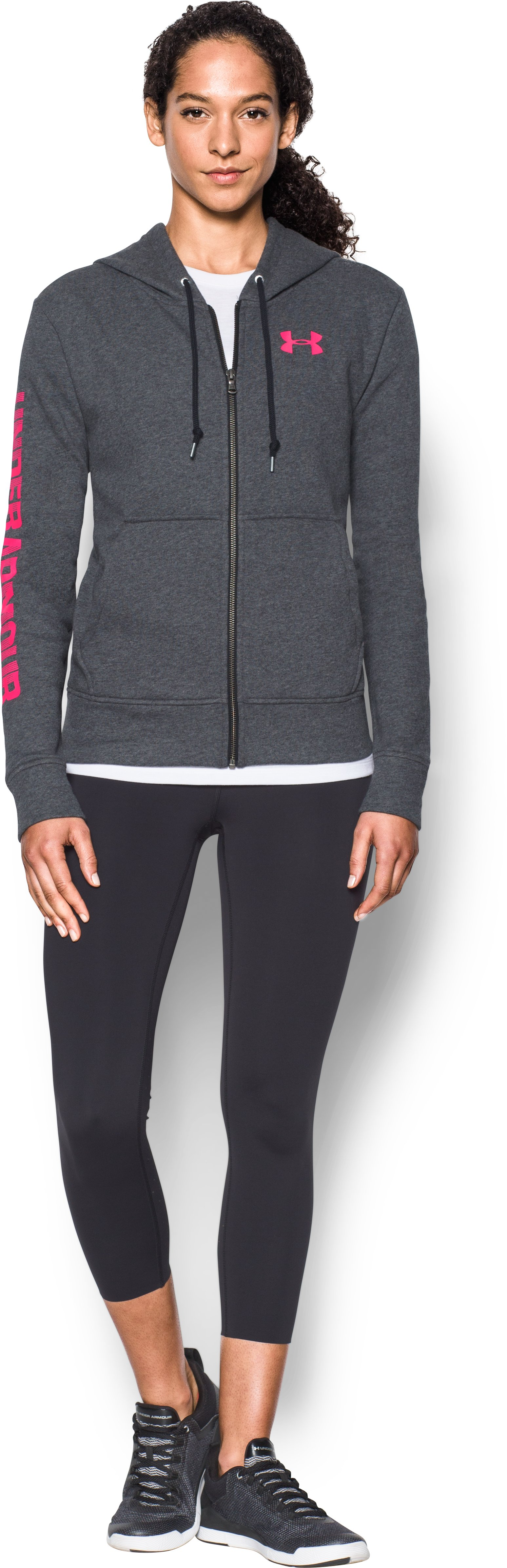 Women's UA Terry Full Zip Hoodie, Carbon Heather, Front
