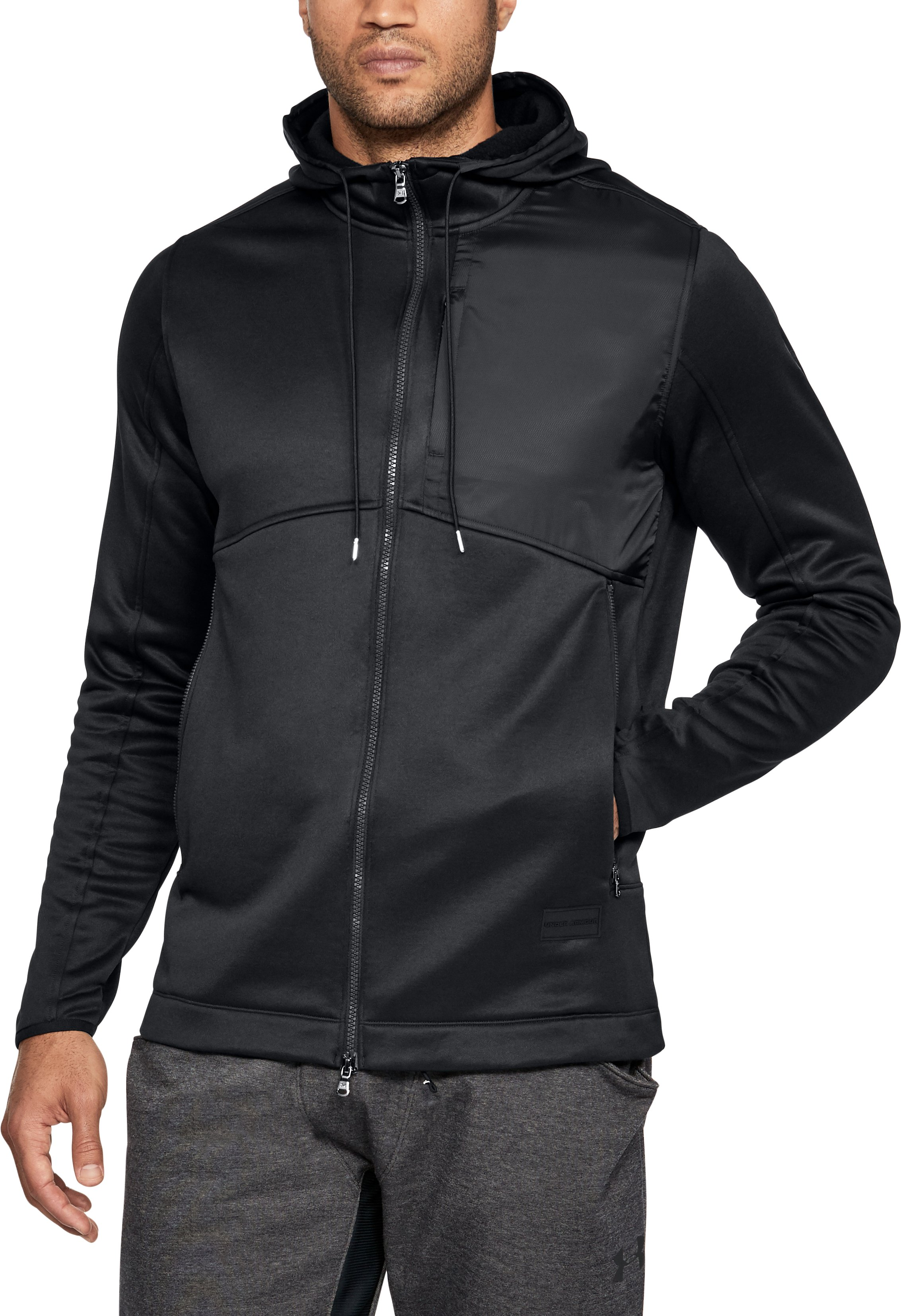 Men's UA Pursuit Stealth Full Zip Hoodie, Black