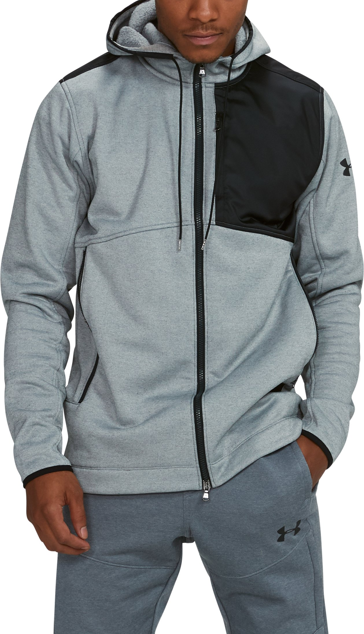 Men's UA Pursuit Stealth Full Zip Hoodie, True Gray Heather