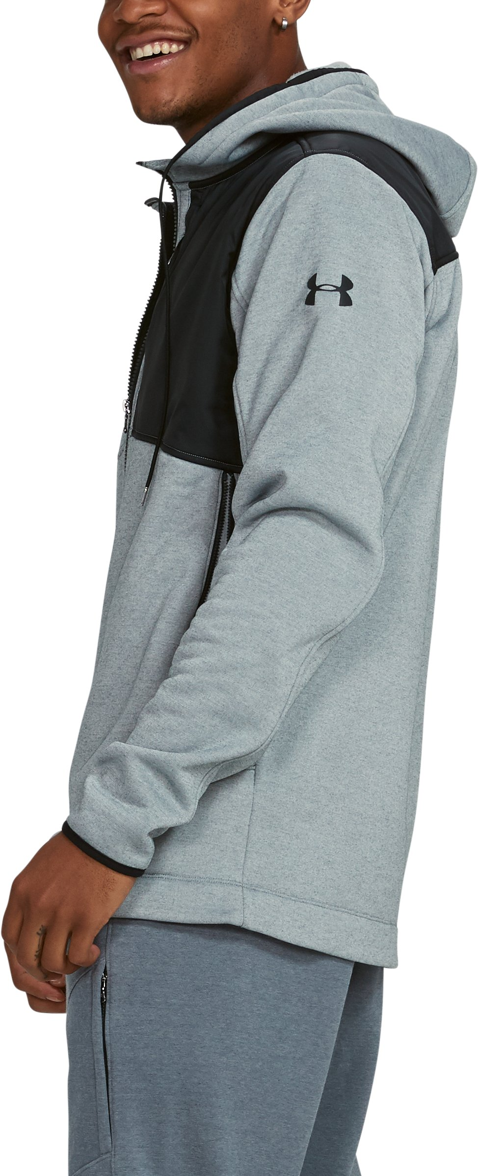 Men's UA Pursuit Stealth Full Zip Hoodie, True Gray Heather,