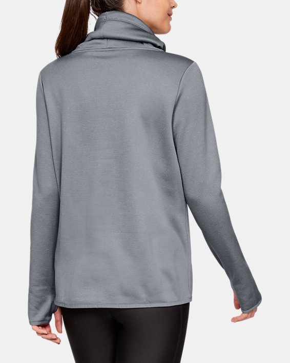 Women's Armour Fleece® Funnel Neck, Gray, pdpMainDesktop image number 2