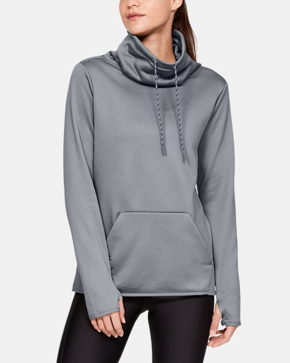 Women's Armour Fleece® Funnel Neck, Gray, pdpMainDesktop image number 0