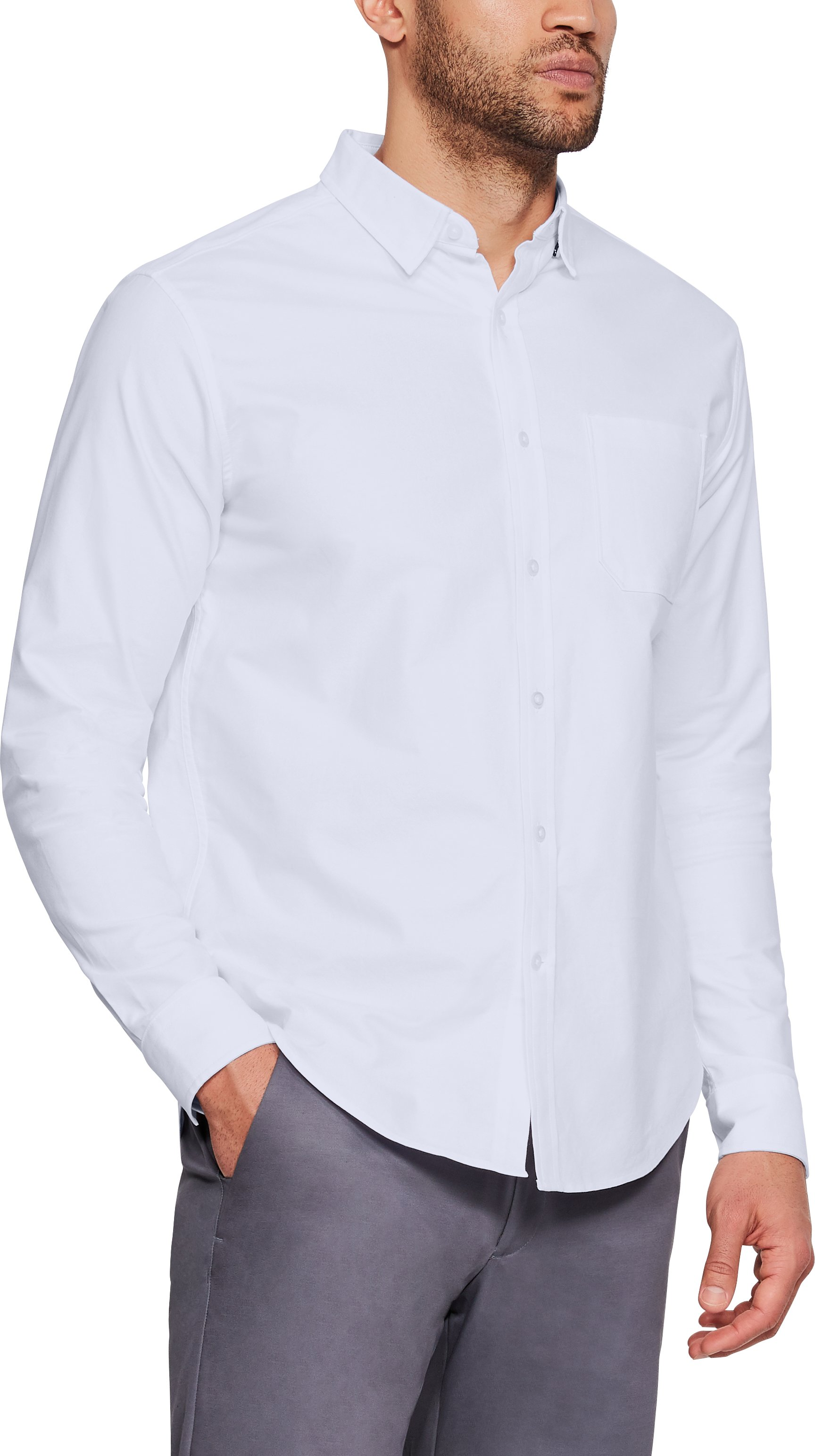 Men's UA Performance Oxford Long Sleeve, White