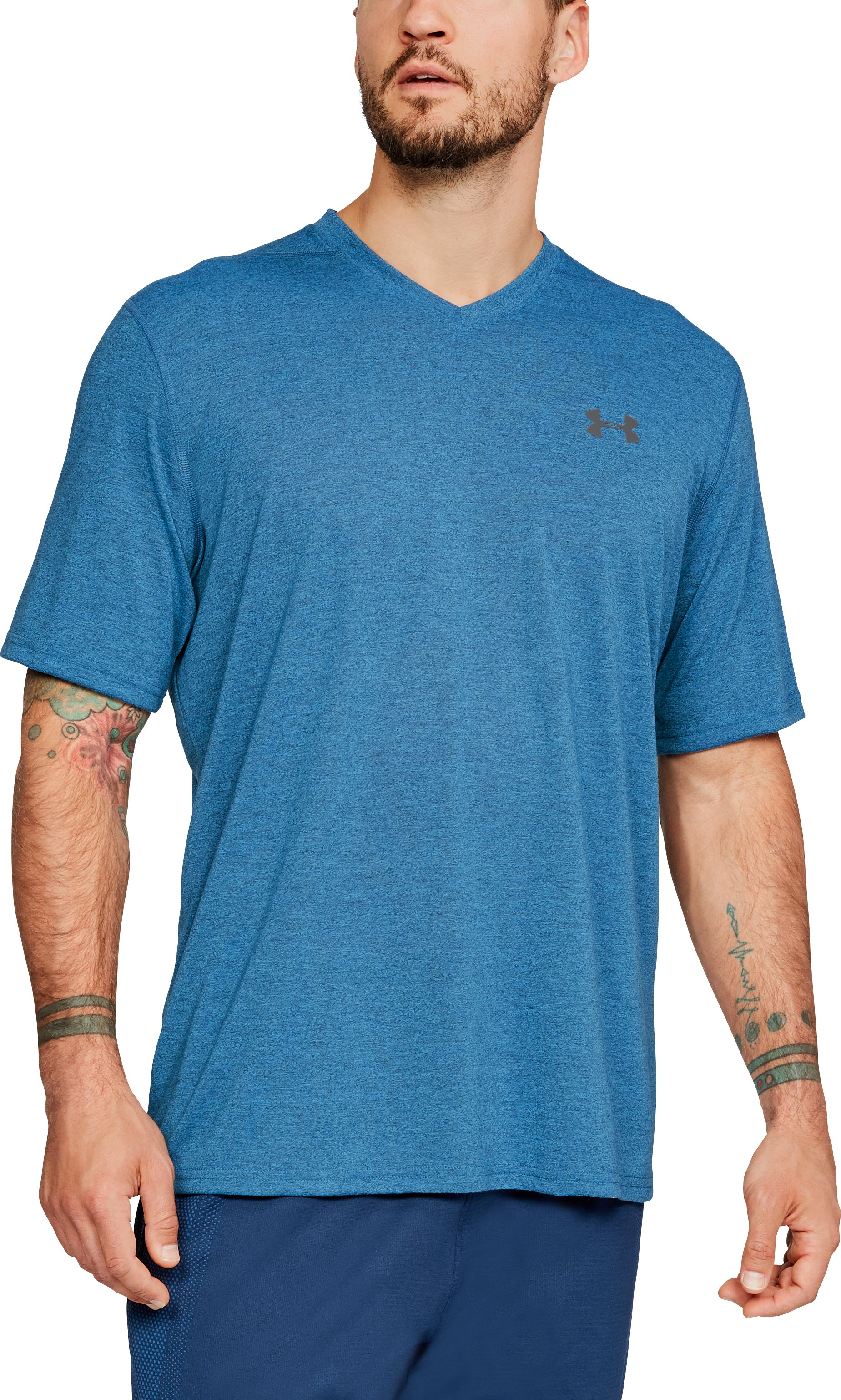Men's UA Siro Heathered V-neck, Academy