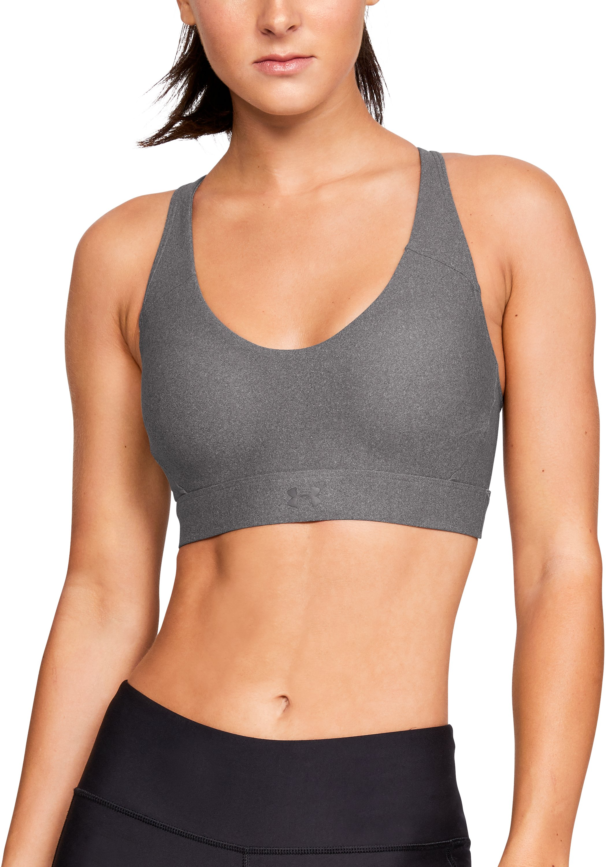 Women's UA Vanish Mid Heathered Sports Bra, CHARCOAL FADE HEATHER,