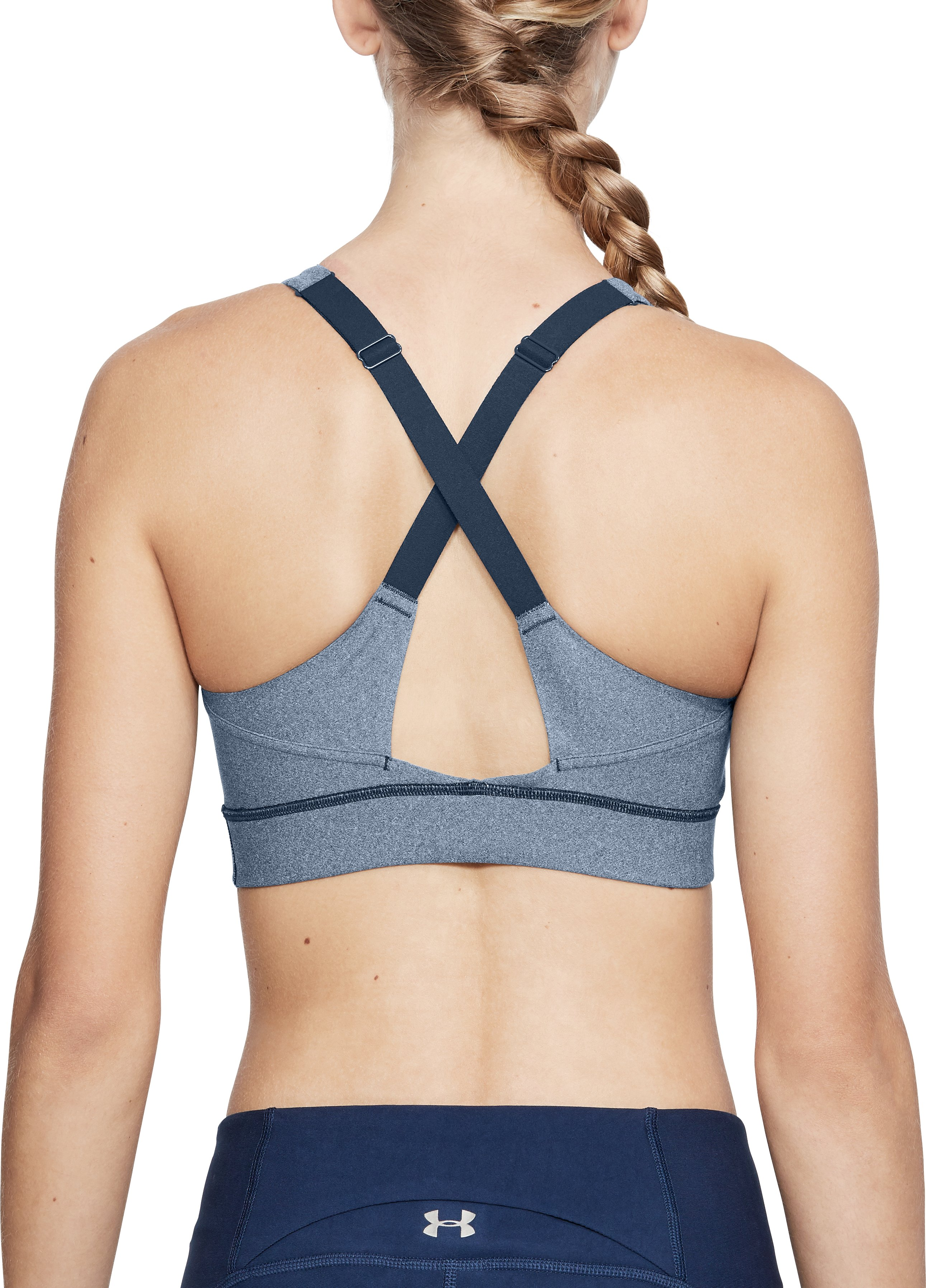 Women's UA Vanish Mid Heathered Sports Bra, ACADEMY FADE HEATHER,
