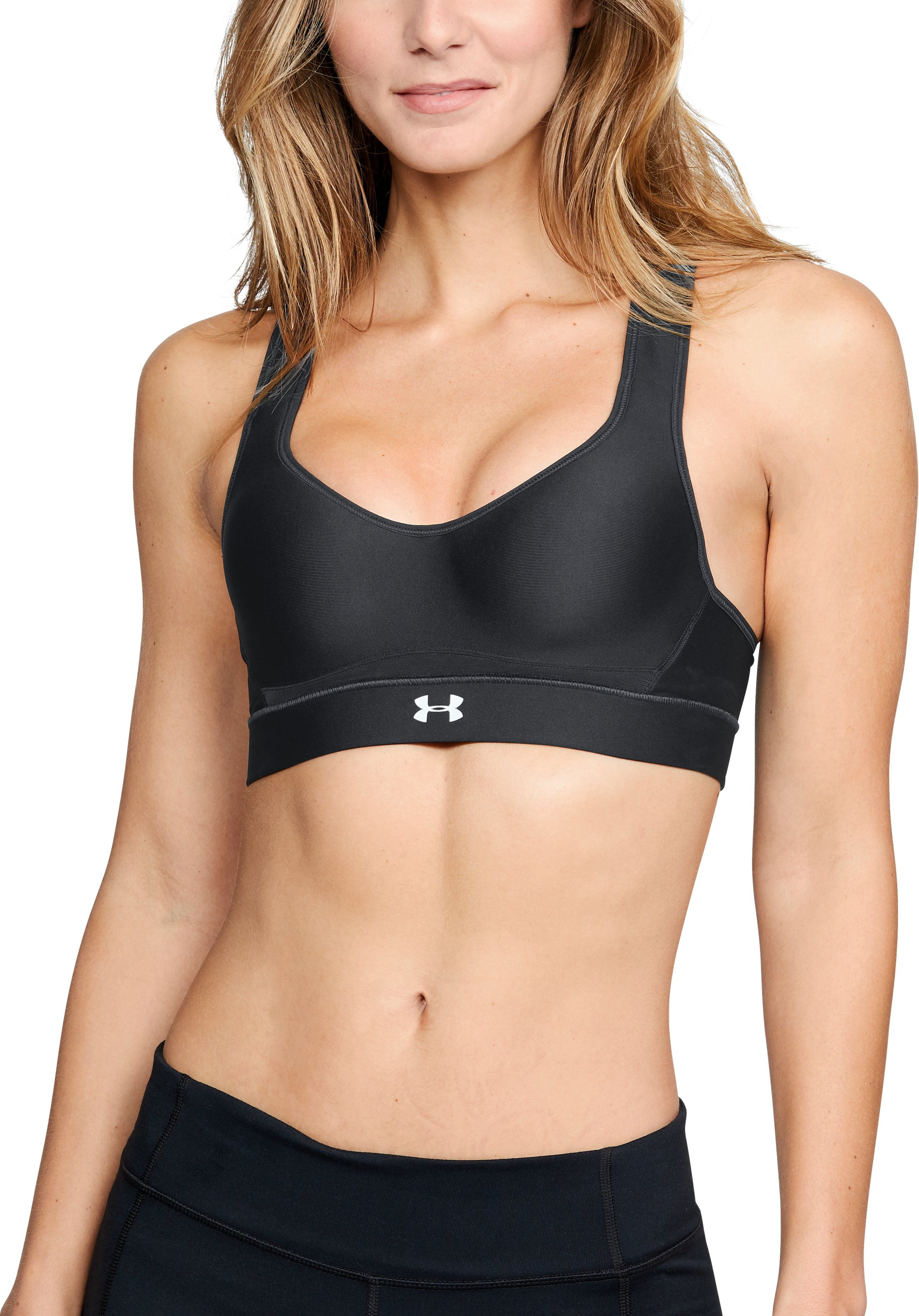 bras for 32b Women's HeatGear Armour® High Support Sports Bra <strong>4-way stretch construction</strong> moves better in every direction