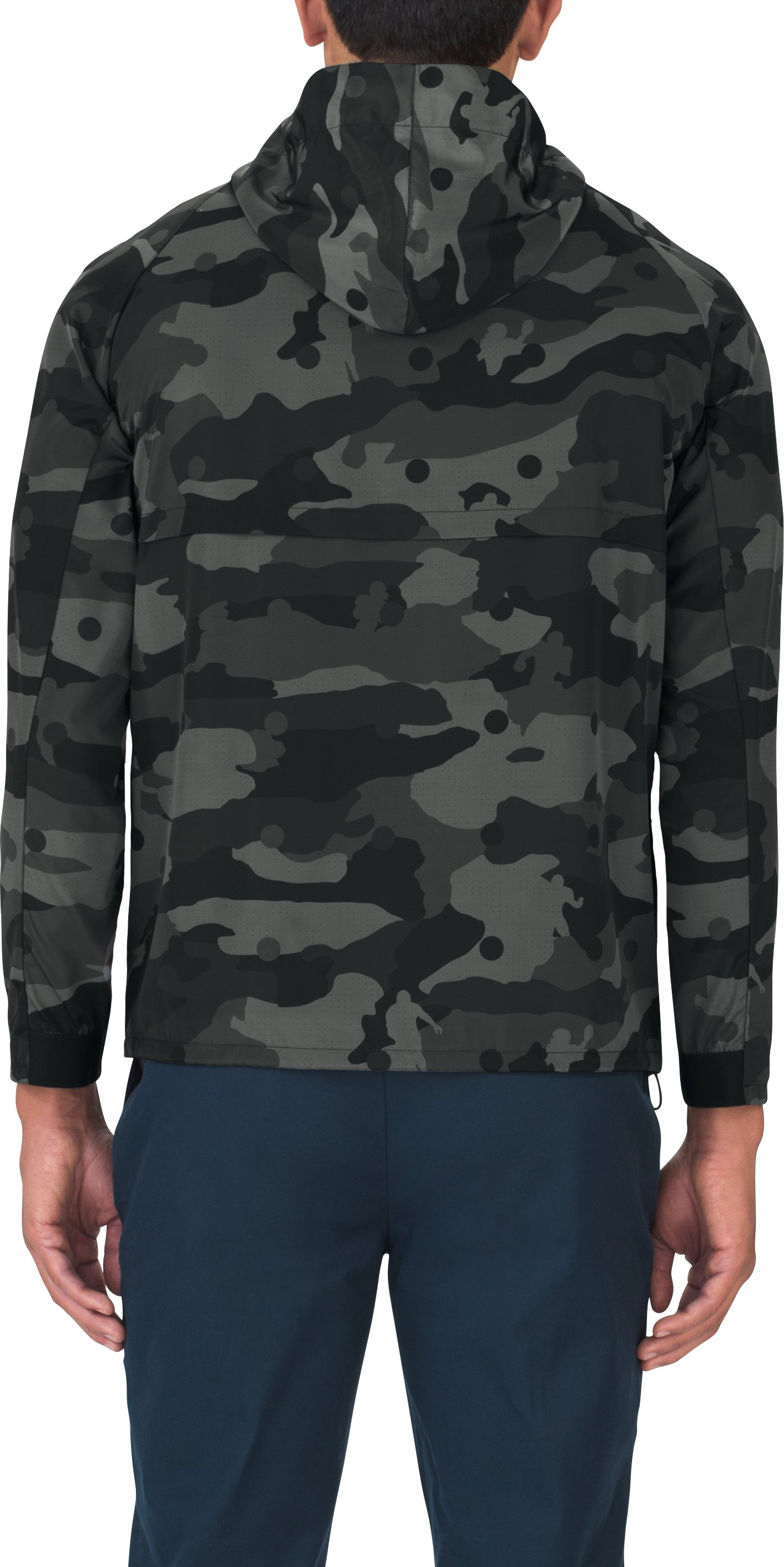 Men's UAS Meters Camo Track Jacket, Black ,