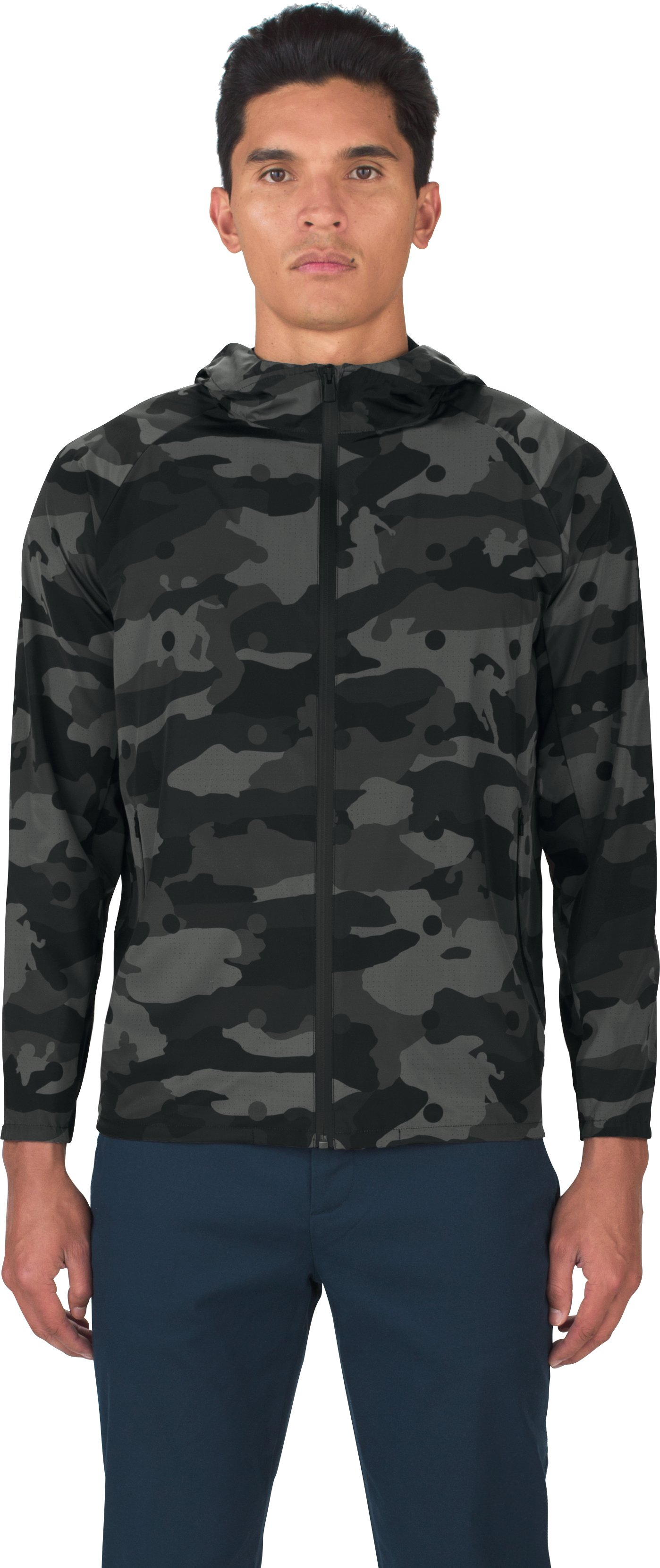 Men's UAS Meters Camo Track Jacket, Black