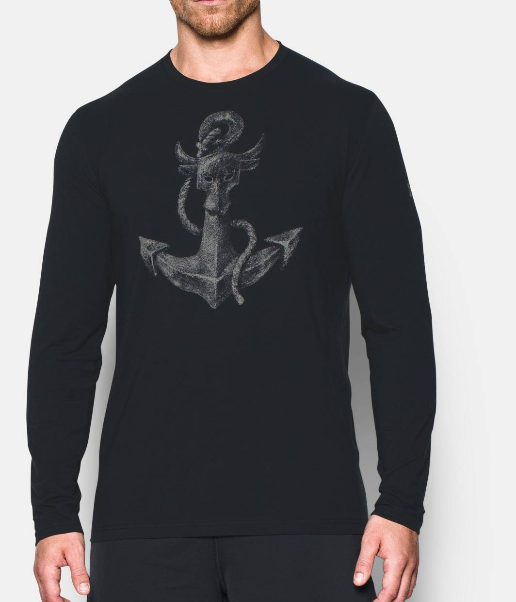 T black shirt rock - Men S Ua X Project Rock Find Your Anchor Long Sleeve T Shirt Black