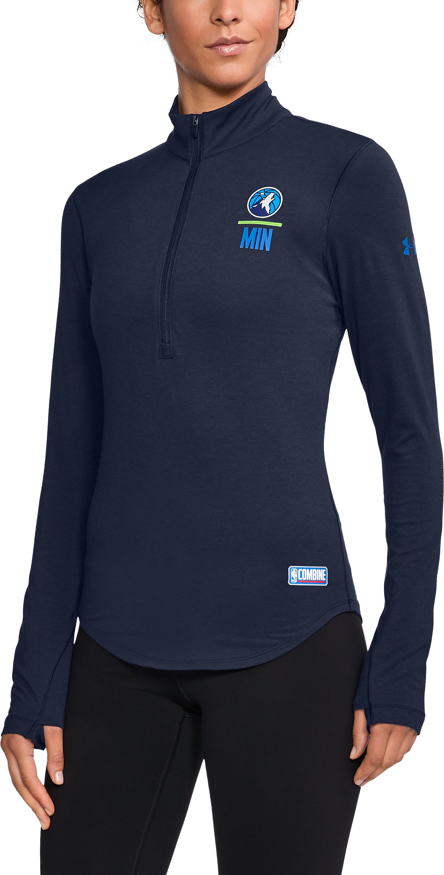 Women's NBA Combine Authentic Charged Cotton® 1/2 Zip, NBA_MINNESOTA TIMBERWOLVES_MIDNIGHT NAVY,