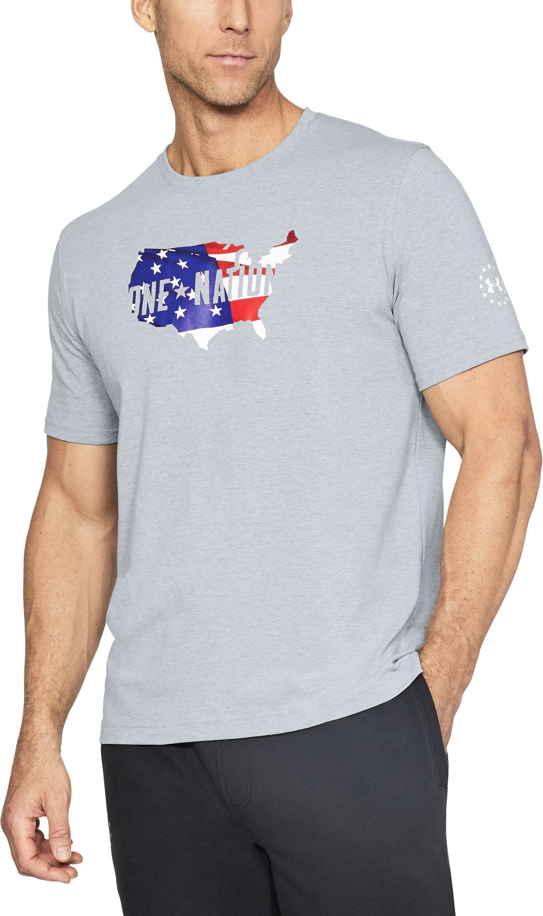 Men's UA Freedom One Nation Fill T-Shirt, STEEL LIGHT HEATHER