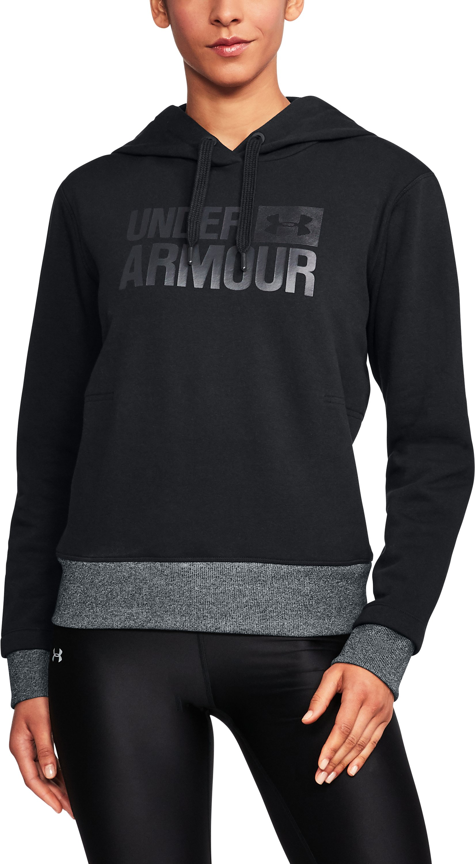 Women's UA Threadborne Fleece Hoodie, Black ,