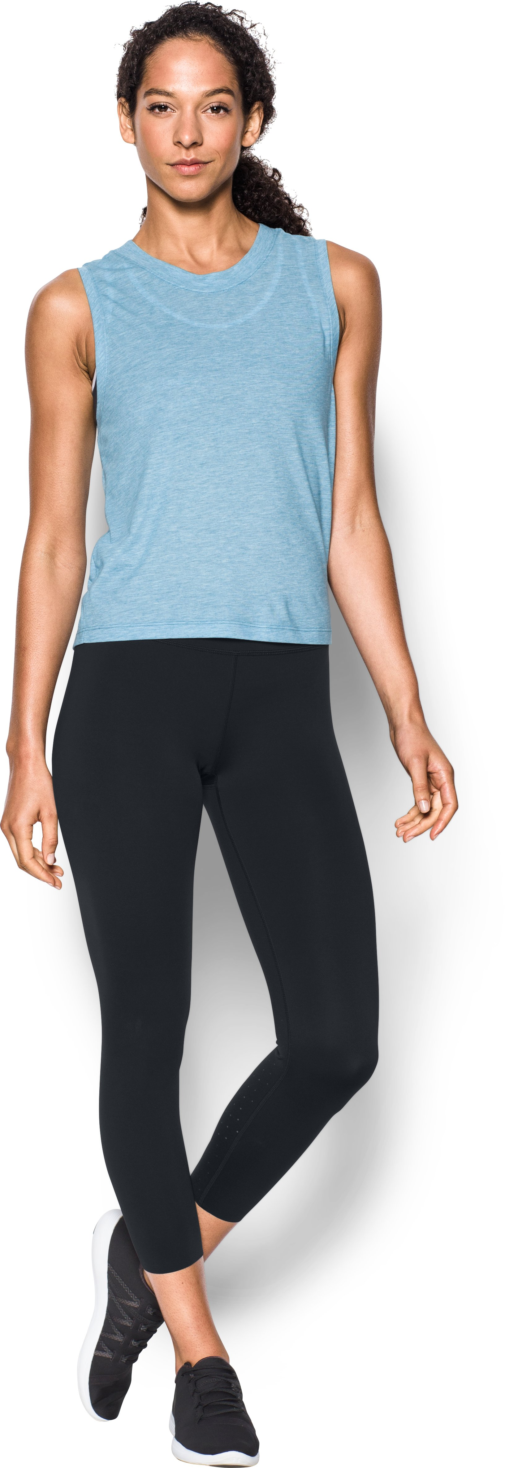 Women's UA Mirror Breathelux Crop, Black , Front