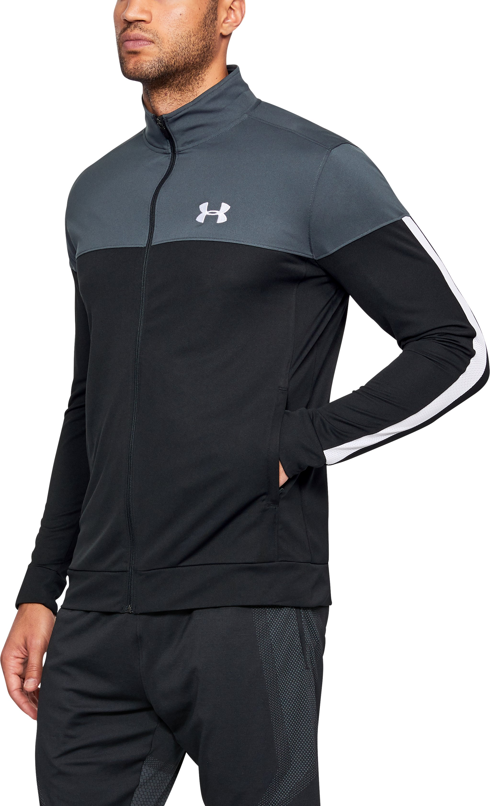 Men's UA Sportstyle Pique Jacket, STEALTH GRAY,