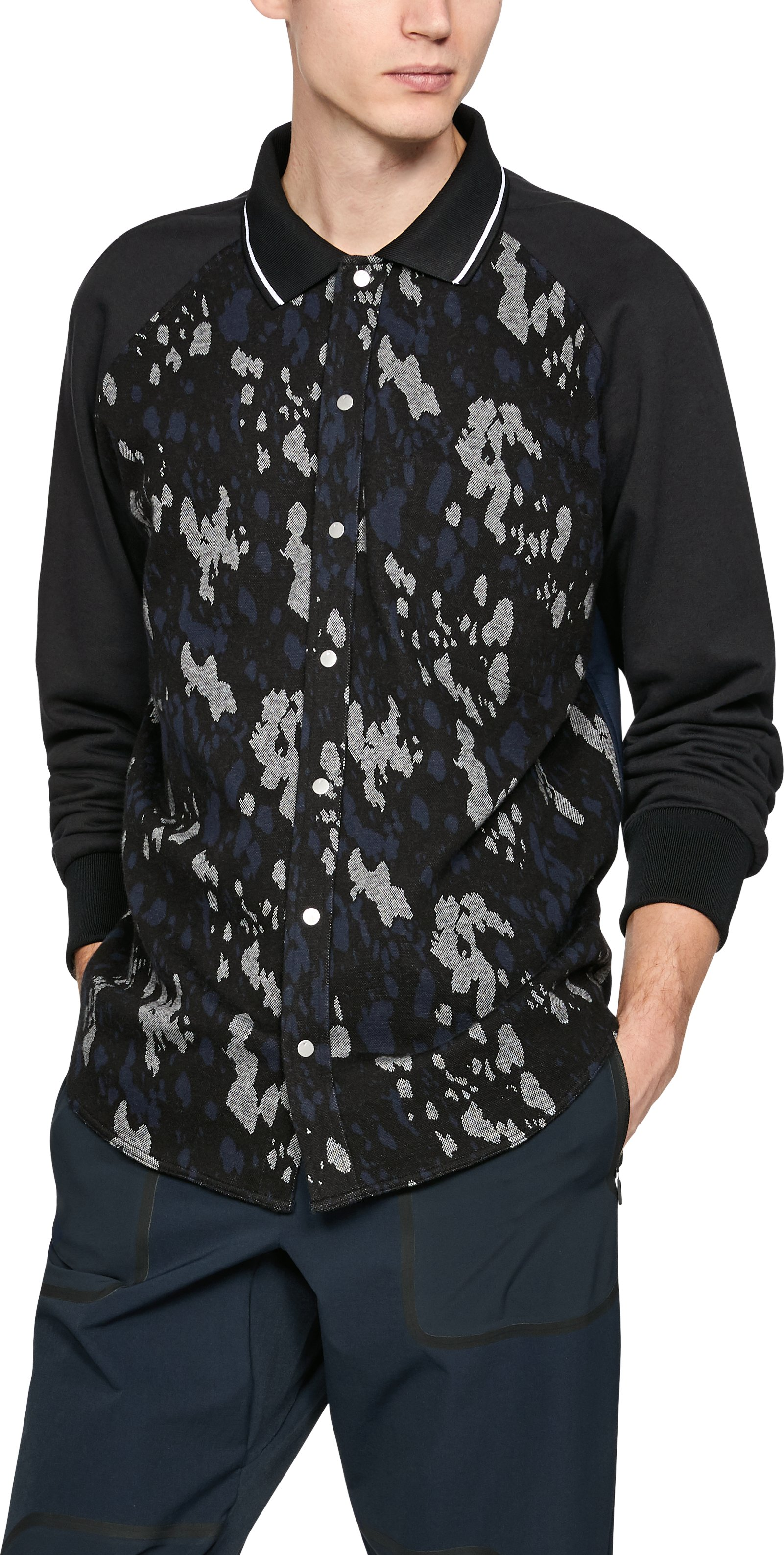 Sept Camo LS Button Shirt, Black ,