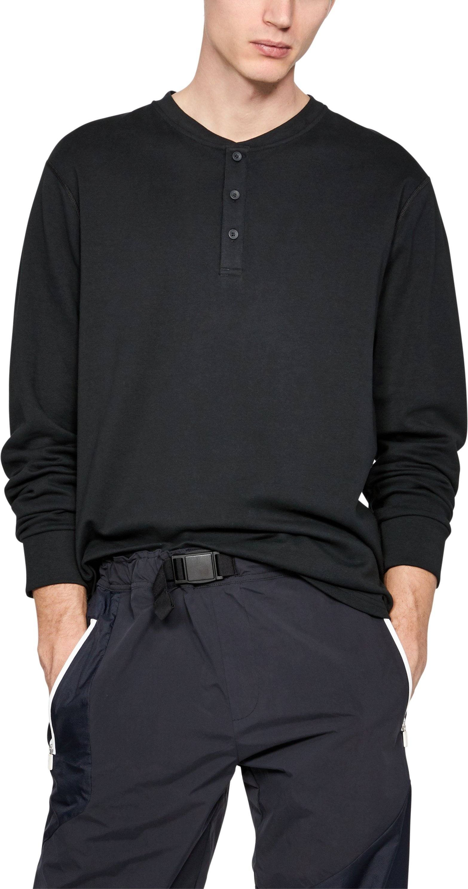 Men's UAS Knit Henley Shirt, Black , undefined