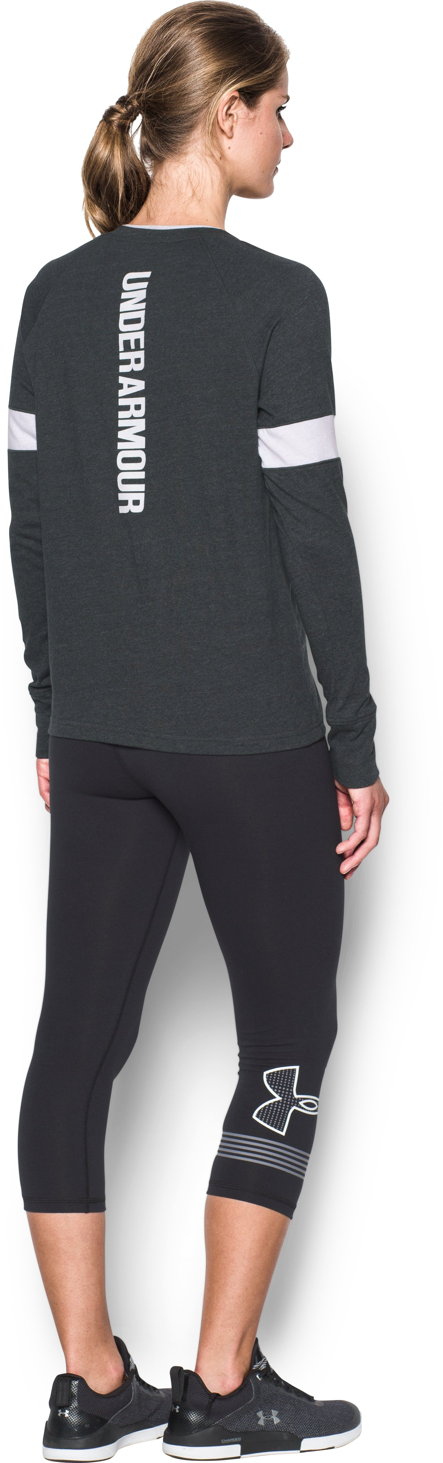 Women's UA Sportstyle Crew Long Sleeve, Black , Back