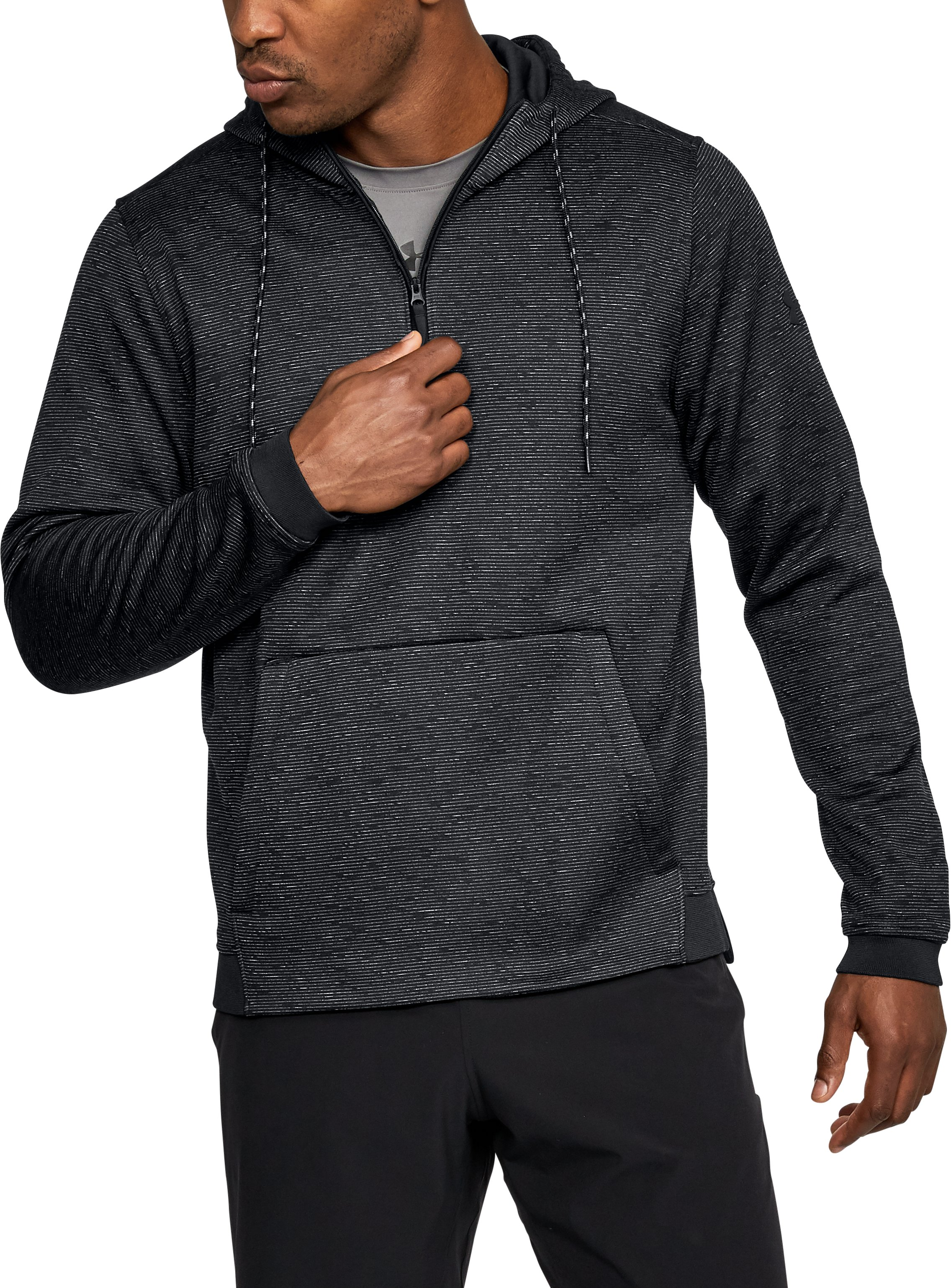 Men's UA Storm Armour® Fleece ¼ Zip Hoodie, Black