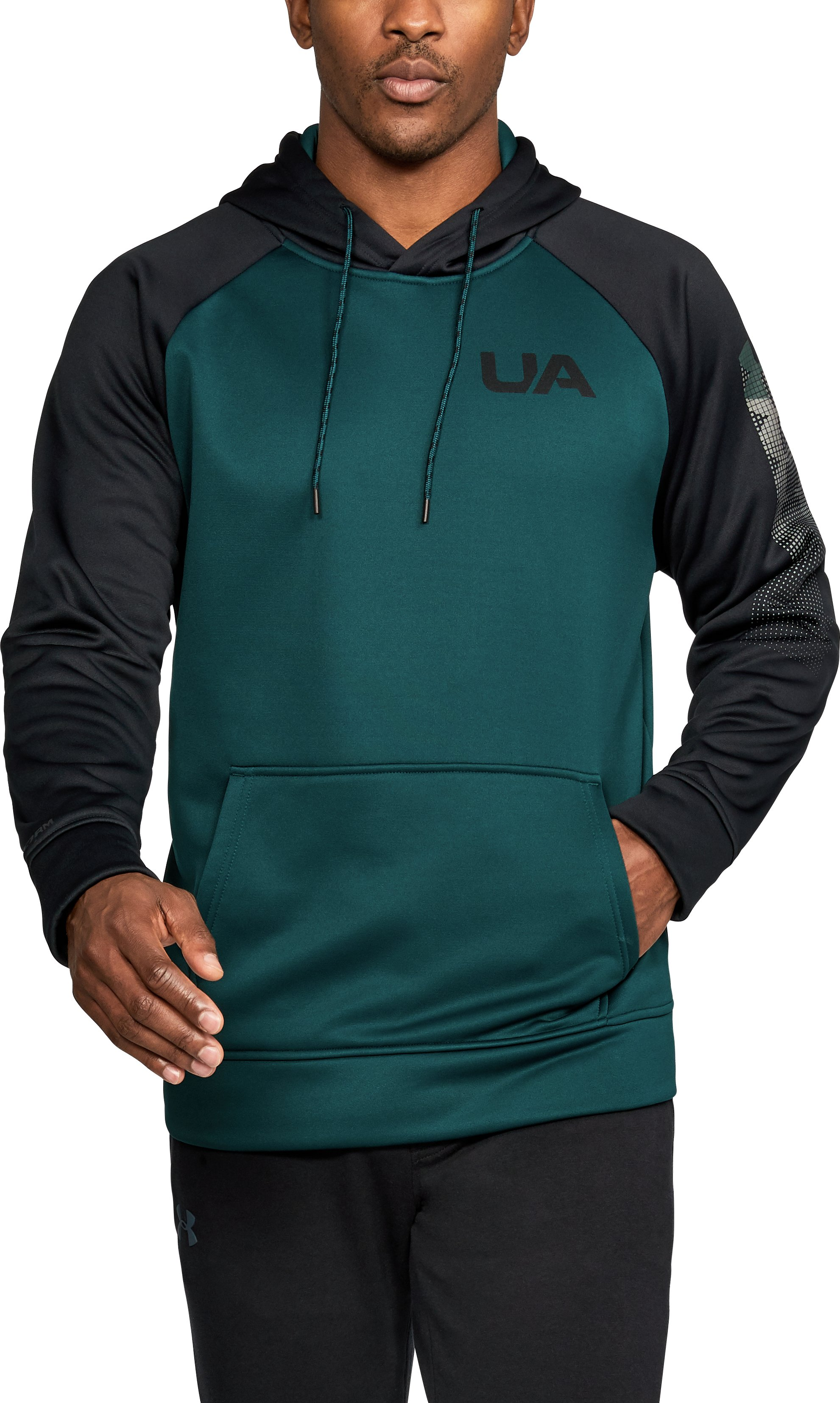 Men's UA Storm Armour Fleece® Colorblock Hoodie, ARDEN GREEN,