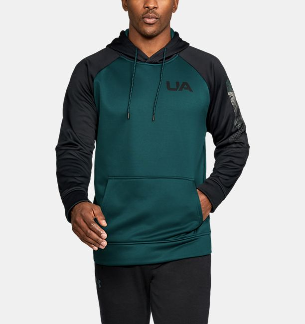 mens ua storm armour fleece colorblock hoodie arden green arden green