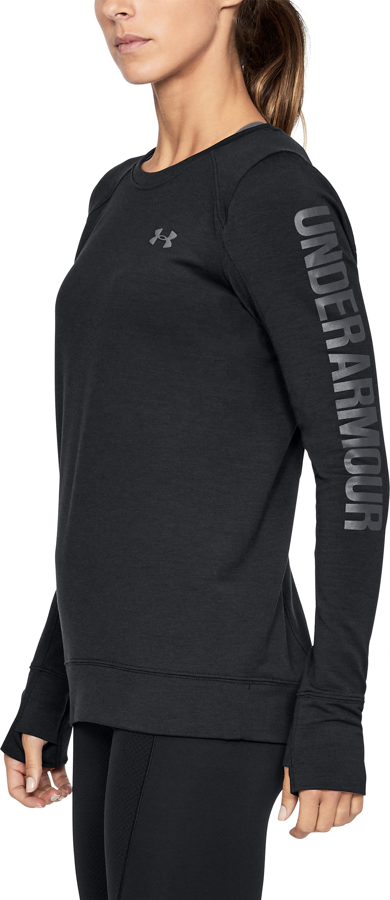 Women's UA Featherweight Fleece Crew, Black