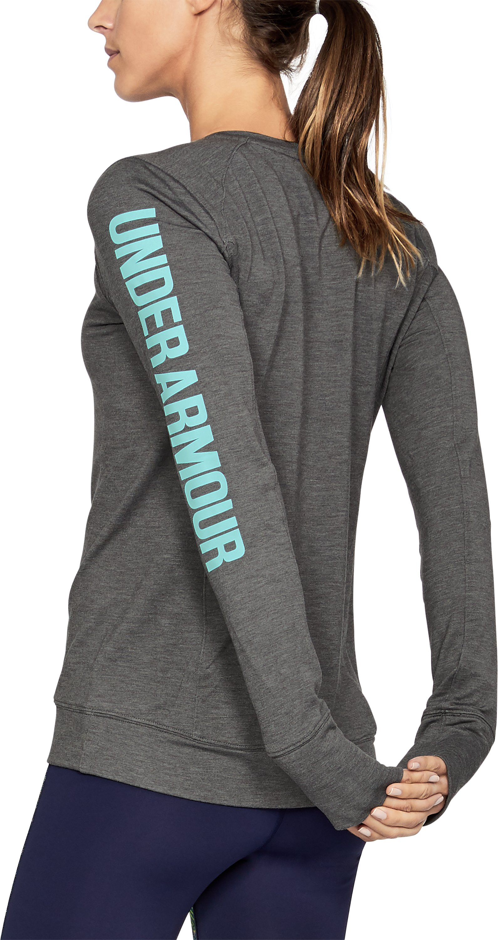 Women's UA Featherweight Fleece Crew, Carbon Heather, undefined