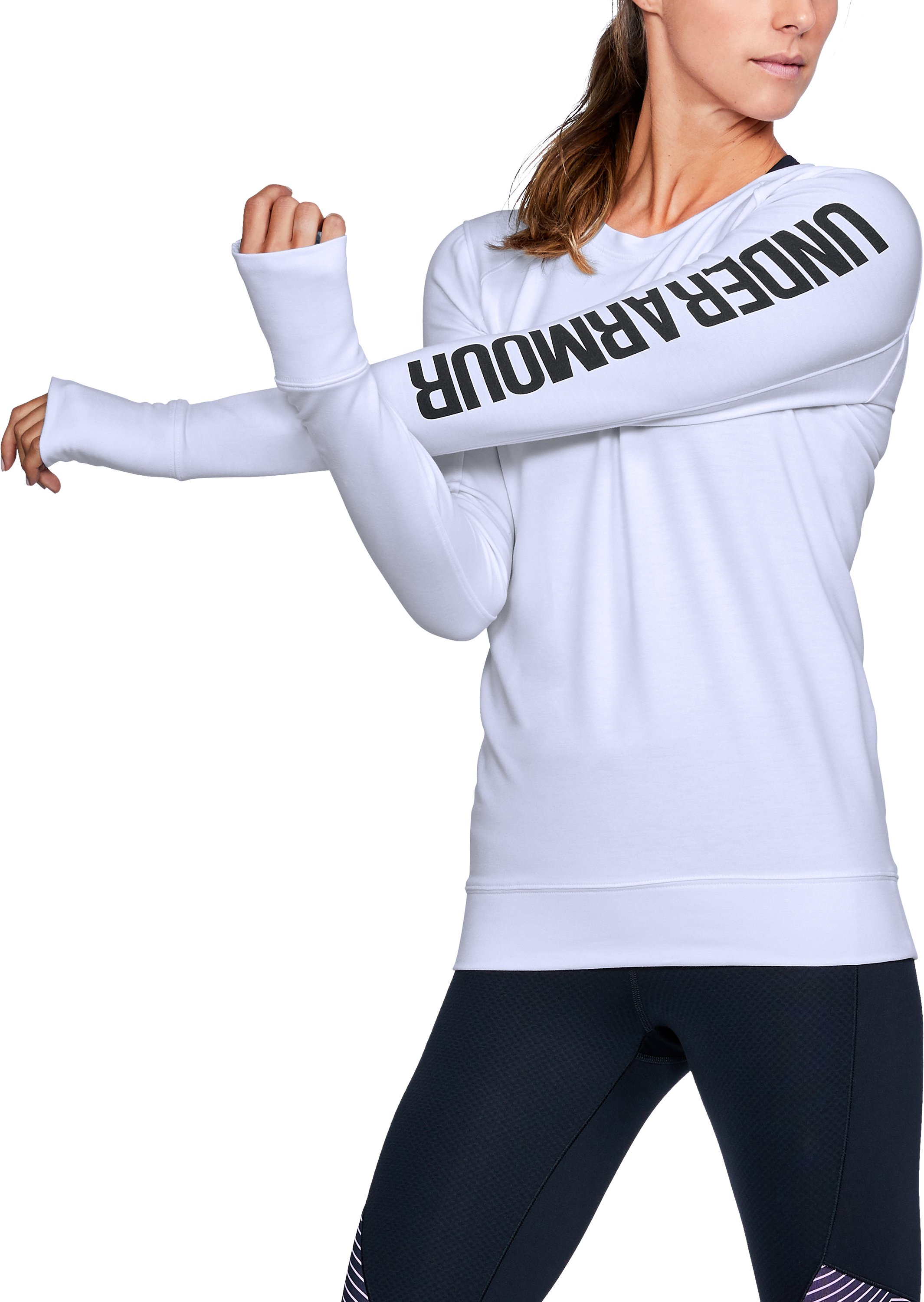 Women's UA Featherweight Fleece Crew, White, undefined