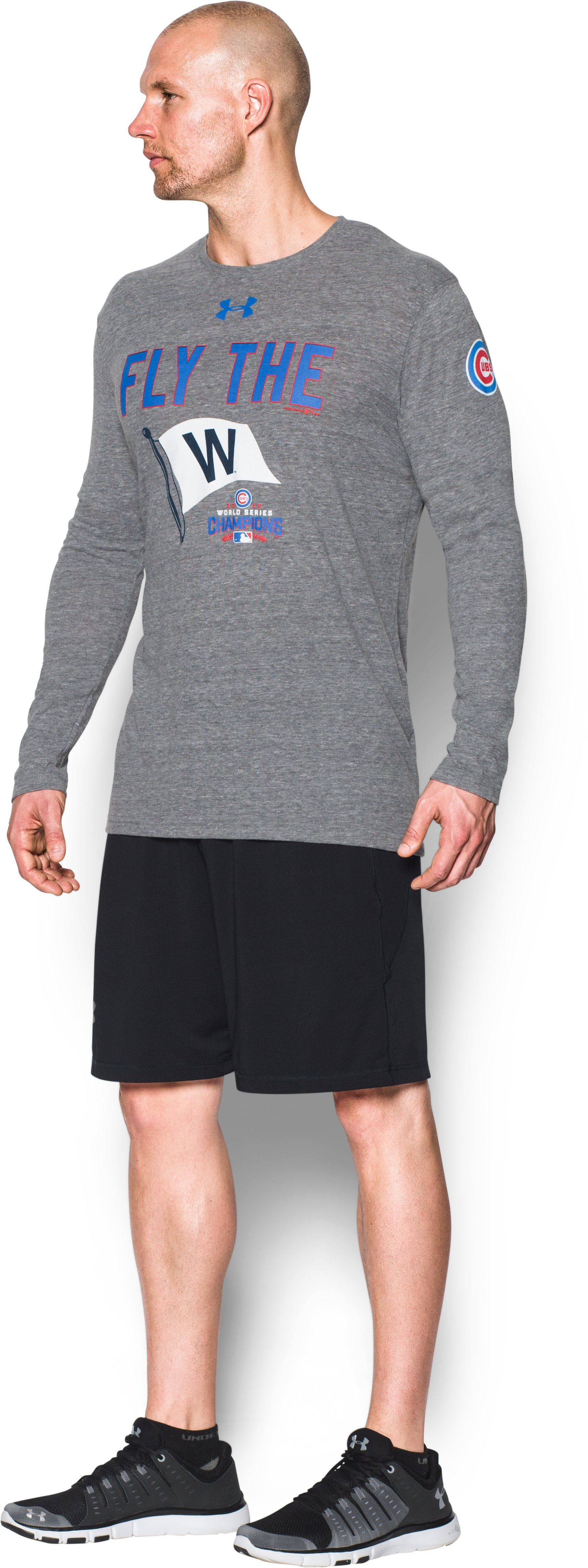 Men's Chicago Cubs Fly the W Tri-blend Long Sleeve T-Shirt, True Gray Heather, undefined