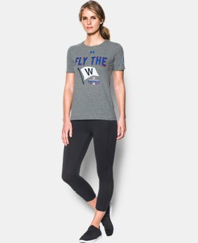 New Arrival Women's Chicago Cubs Chicago Cubs Fly the W Tri-blend T-Shirt  1 Color $34.99