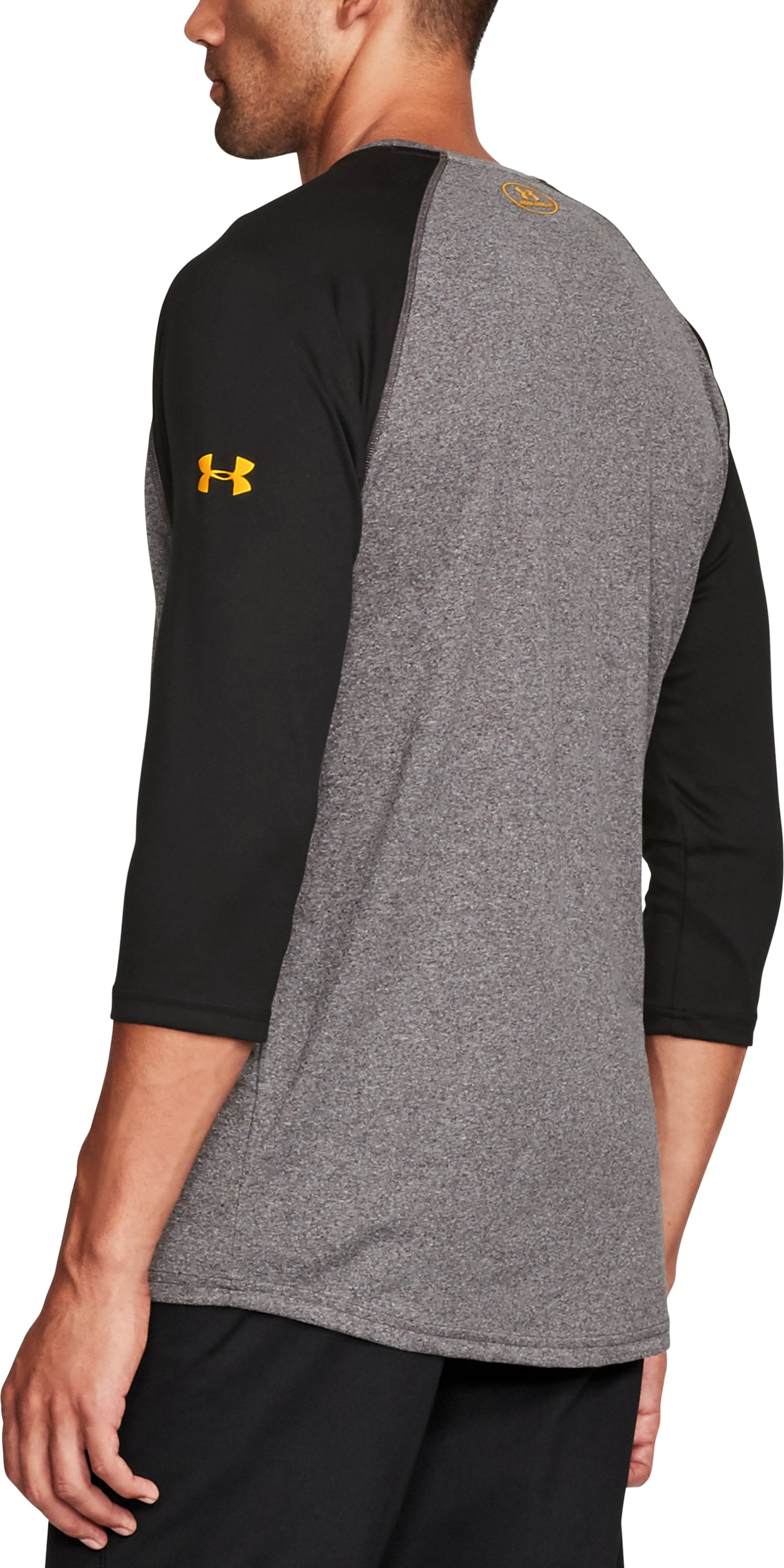 Men's UA x TRX ¾ Sleeve T-Shirt, CHARCOAL LIGHT HEATHER, undefined