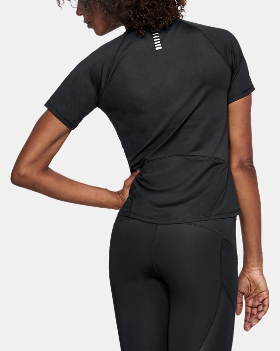 Women's UA CoolSwitch Run Short Sleeve, Black, pdpMainDesktop image number 2