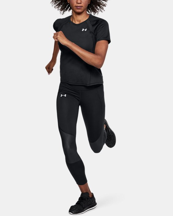 Women's UA CoolSwitch Run Short Sleeve, Black, pdpMainDesktop image number 1