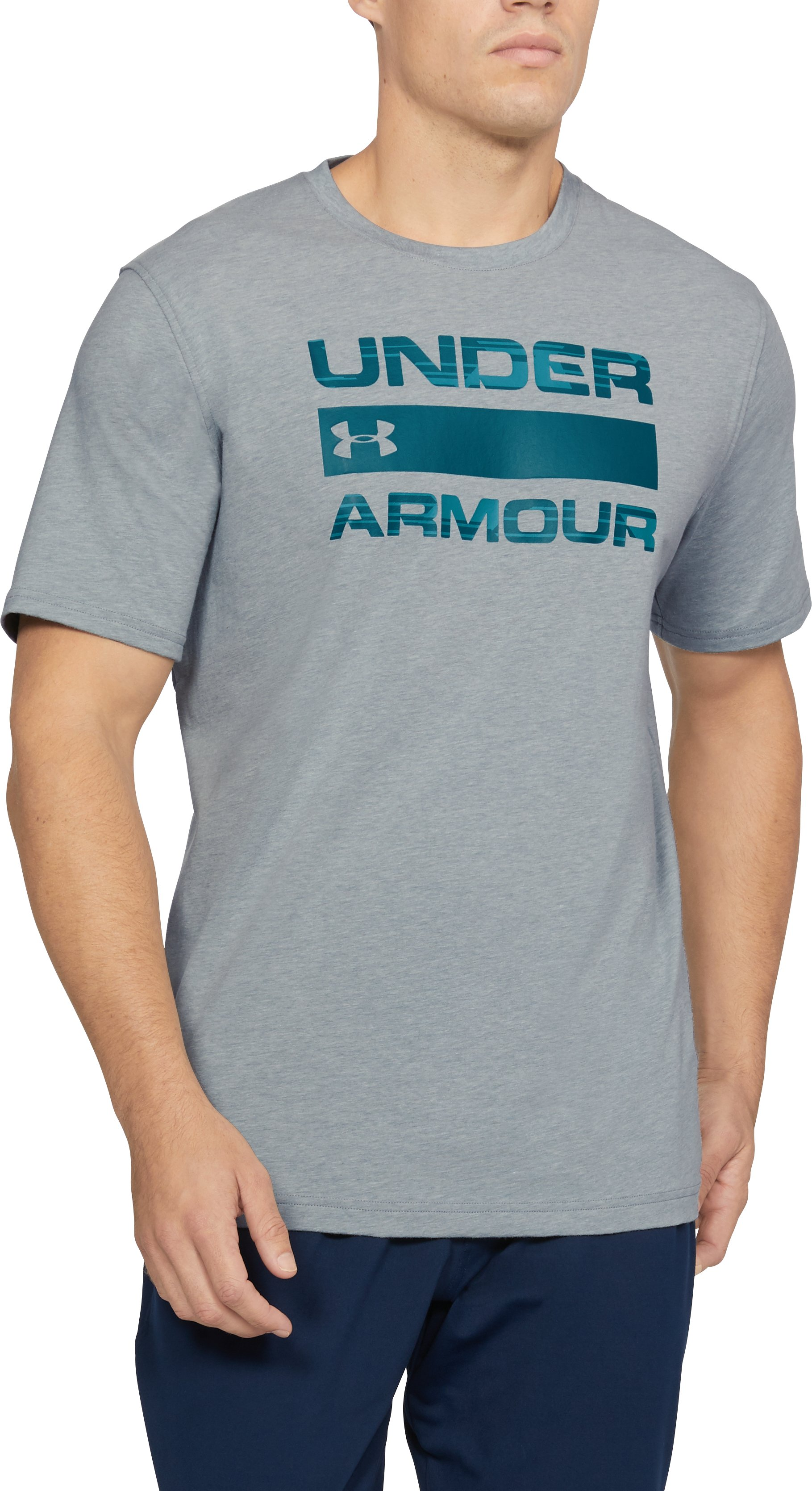 Men's UA Team Issue Wordmark T-Shirt, STEEL LIGHT HEATHER,