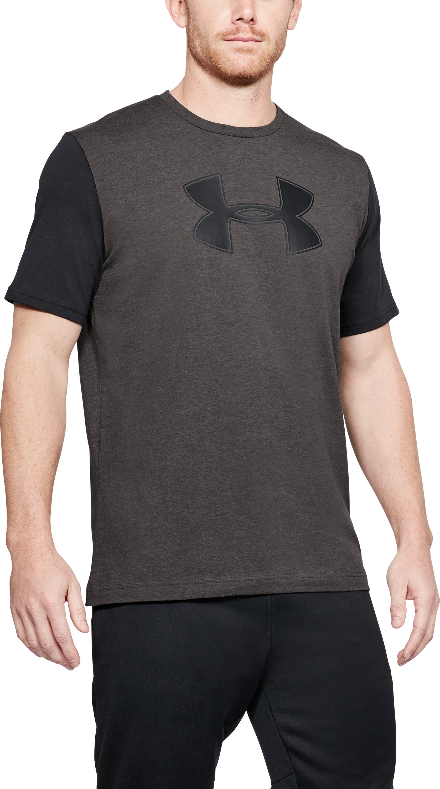 Men's UA Big Logo T-Shirt, CHARCOAL MEDIUM HEATHER,