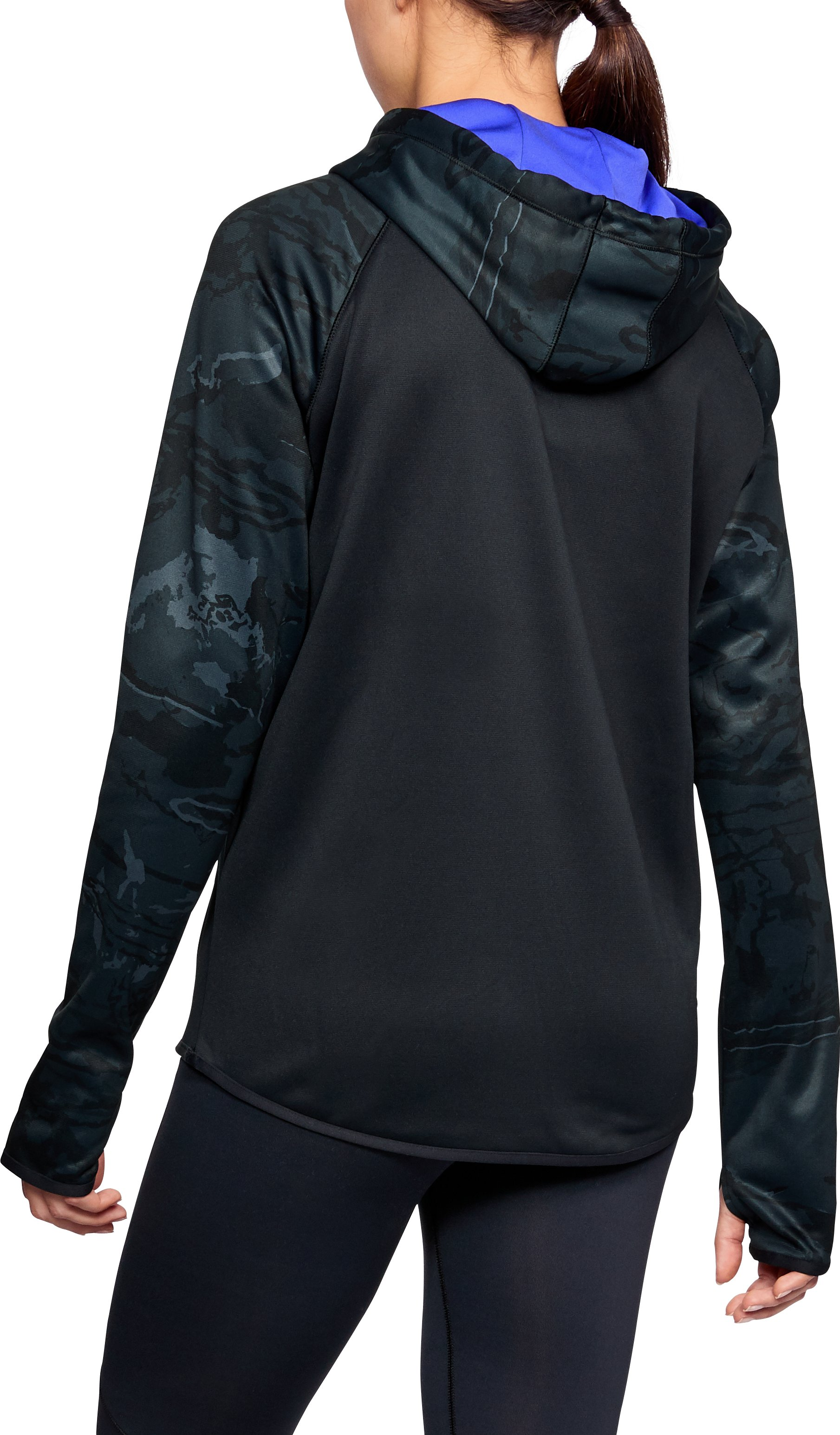 Women's  Armour Fleece® Camo Blocked Hoodie, Black ,